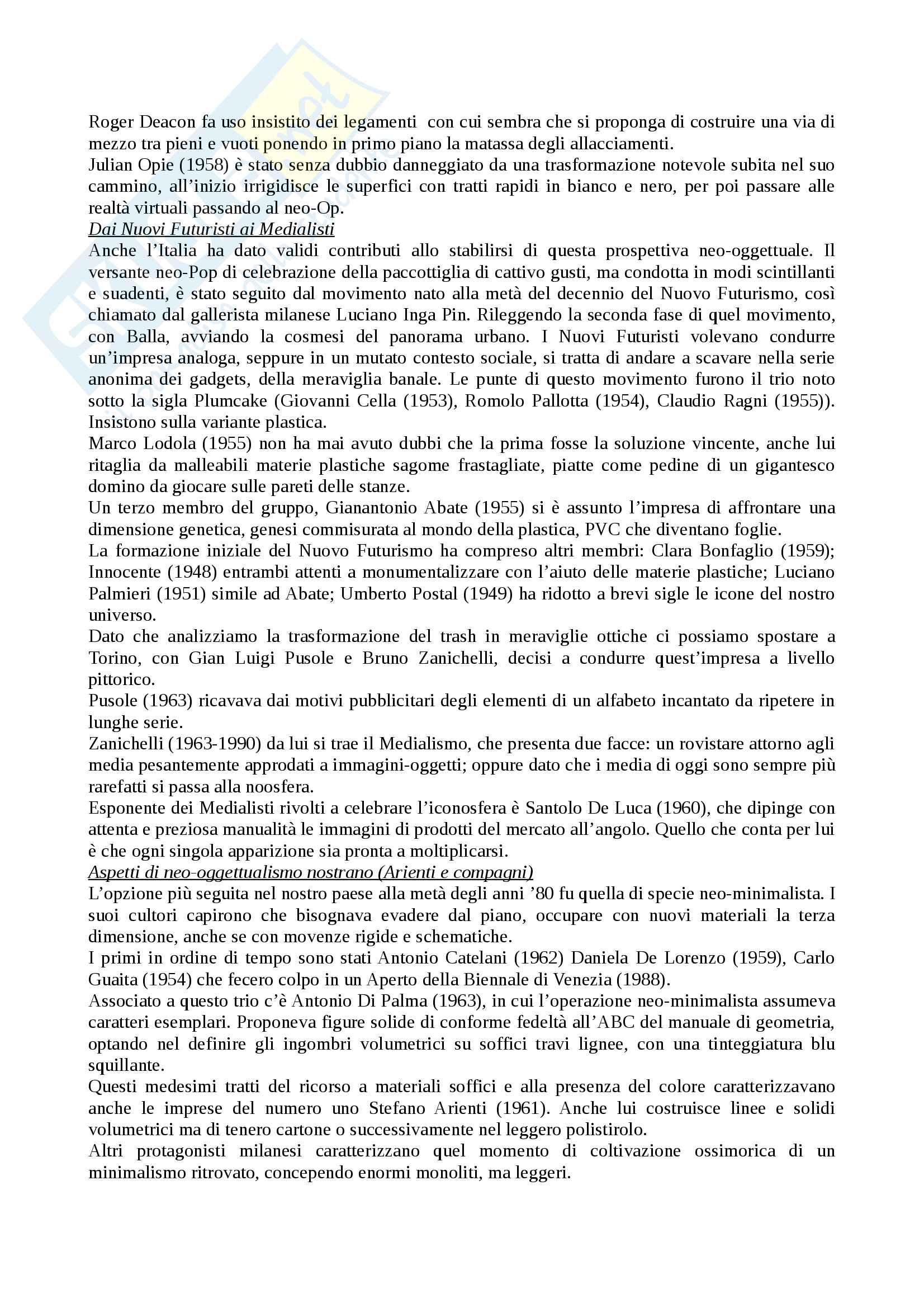 Riassunto esame storia e critica dell'arte contemporanea, docente Trione, libro consigliato Prima e dopo il 2000, Renato Barilli Pag. 11