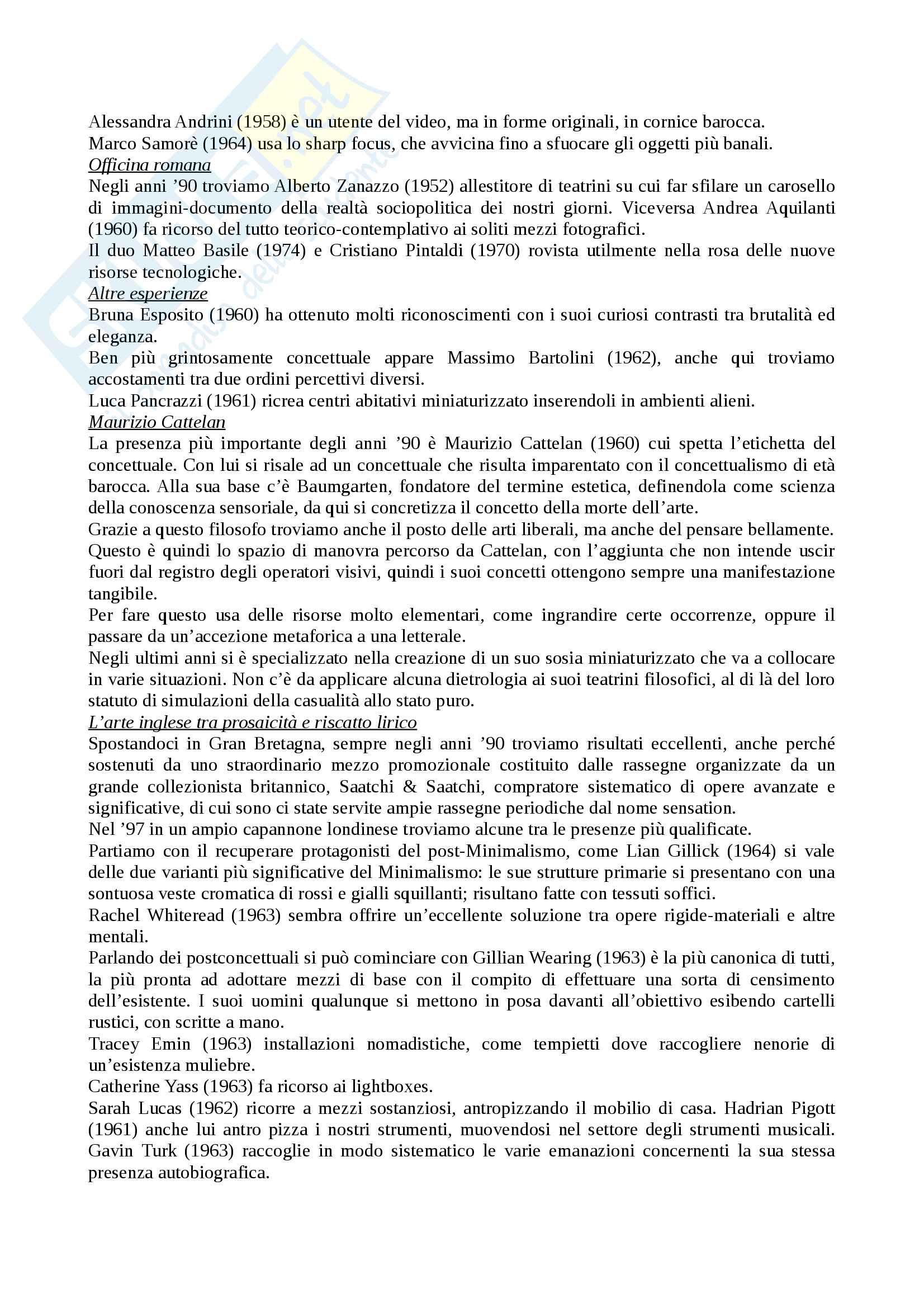 Riassunto esame storia e critica dell'arte contemporanea, docente Trione, libro consigliato Prima e dopo il 2000, Renato Barilli Pag. 16