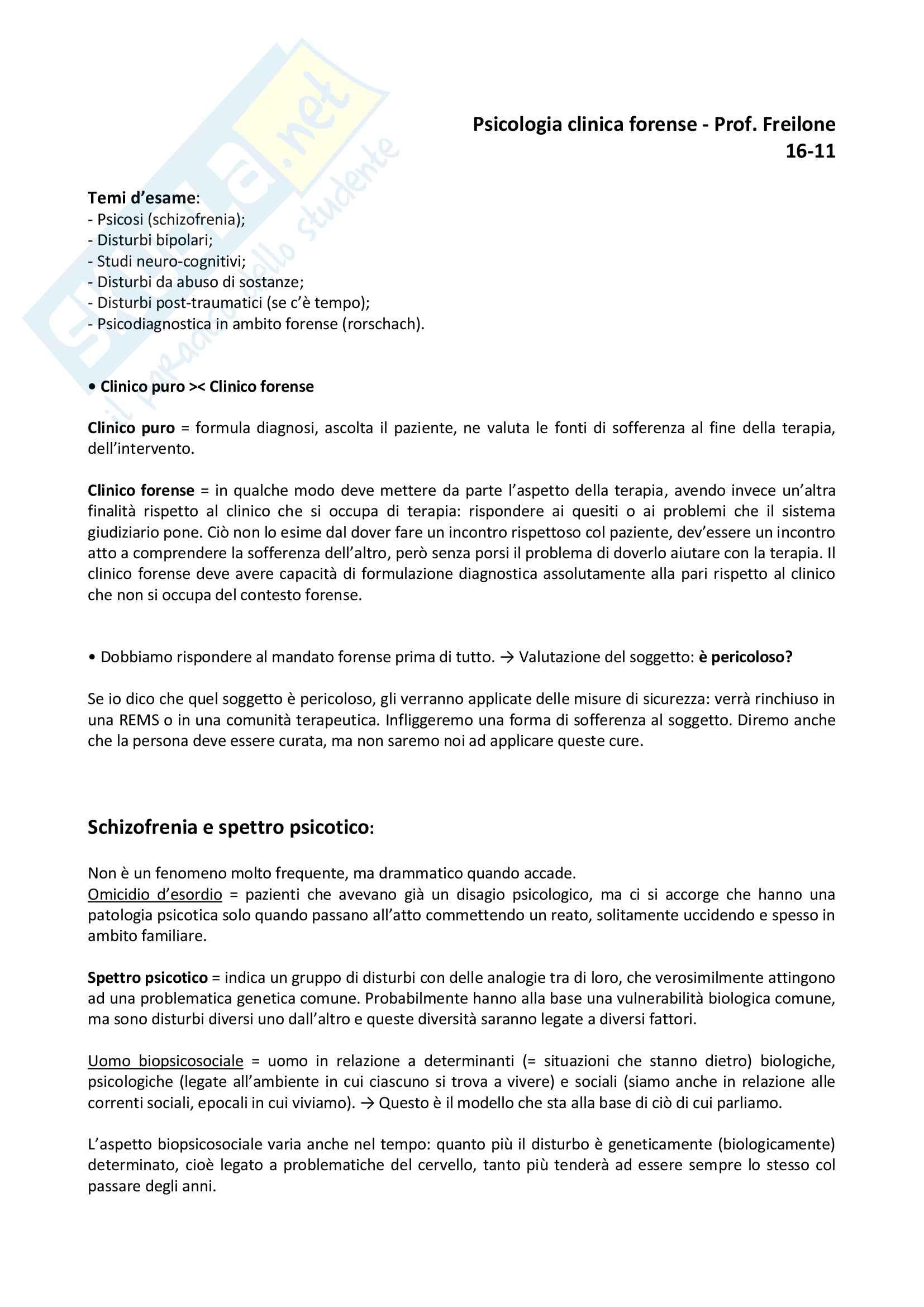 Appunti psicologia clinica forense - Professor Franco Freilone