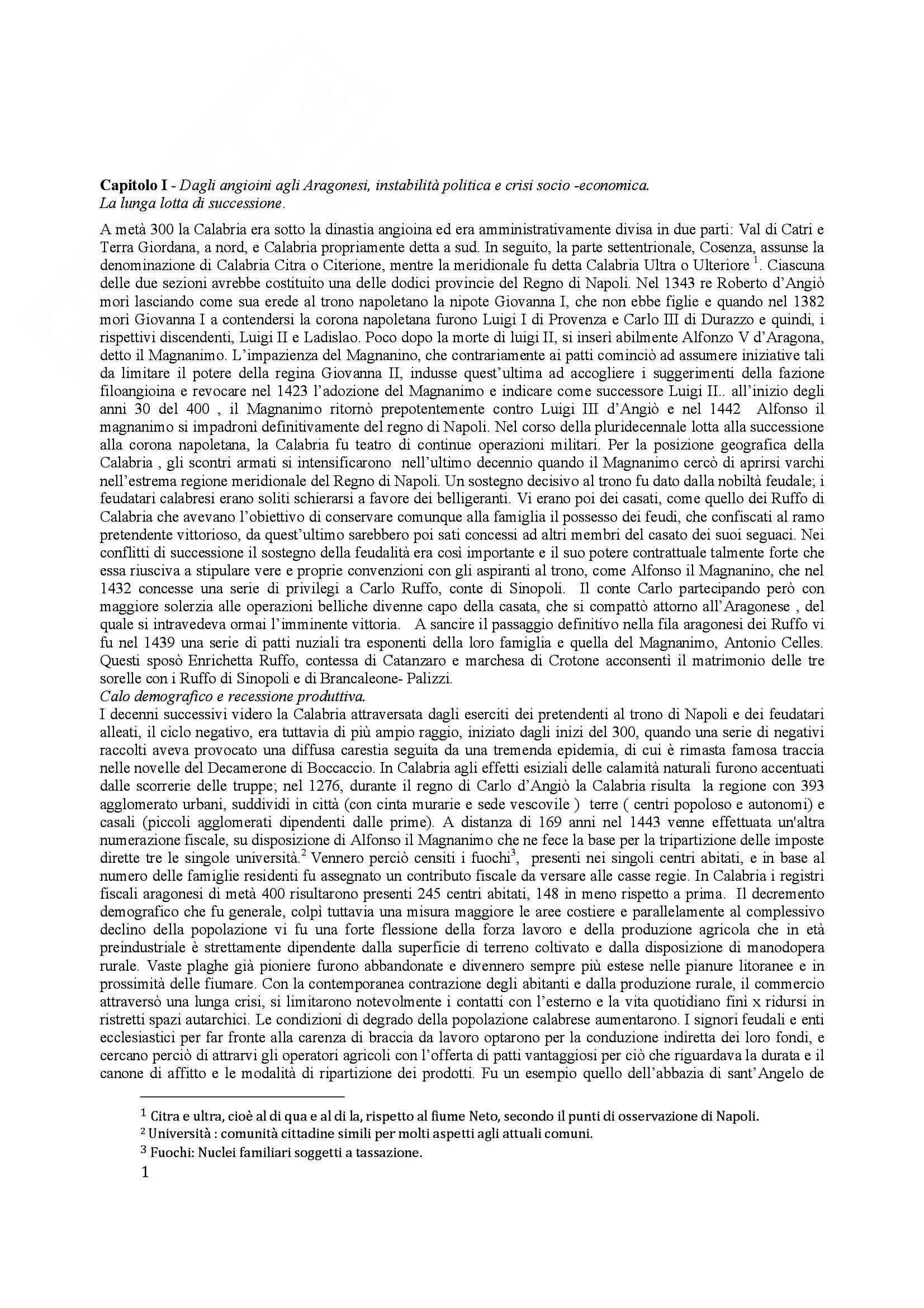 Riassunto esame Storia Moderna, prof. Caridi, libro consigliato La Calabria nei Documenti Storici: Da Metà Trecento a Metà Seicento, Caridi