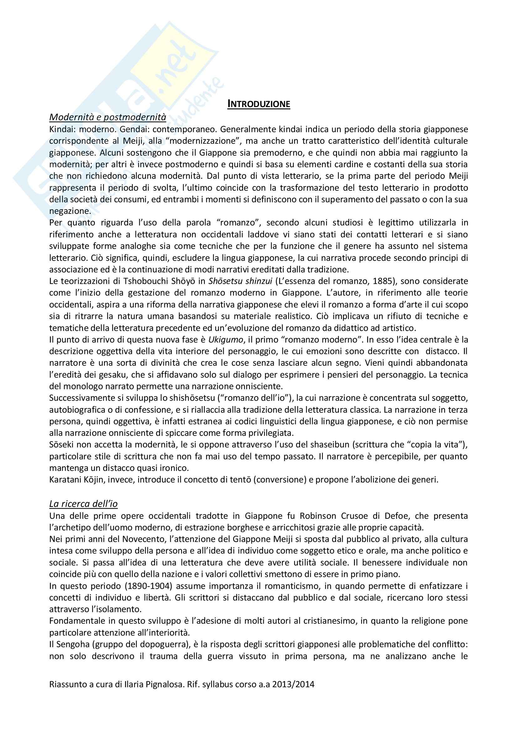 Riassunto esame Letteratura, prof. Beinati, libro consigliato Dalla fine dell'Ottocento all'inizio del Terzo Millennio