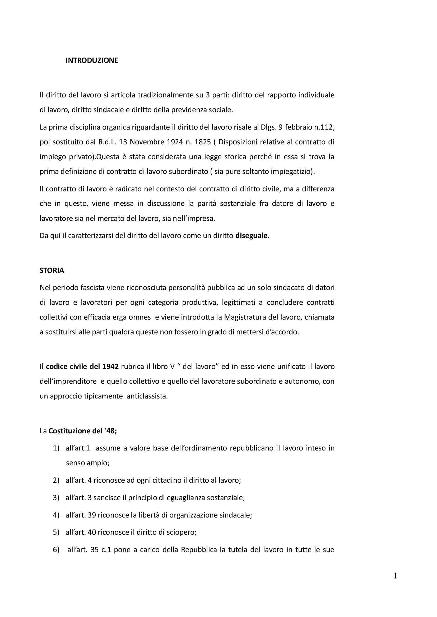 Riassunto esame Diritto del lavoro, prof. Fontana, libro consigliato Il rapporto di lavoro subordinato, aggiornato alla riforma Fornero, Carinci, Tosi, Treu
