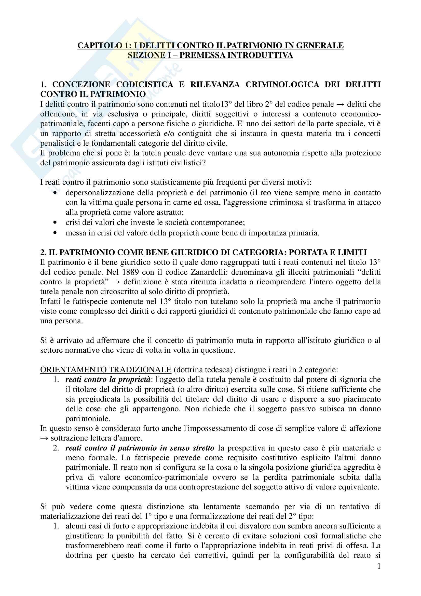 Riassunto esame Diritto Penale 2, prof. Zanotti, libro consigliato Reati Contro il Patrimonio, Fiandaca, Musco