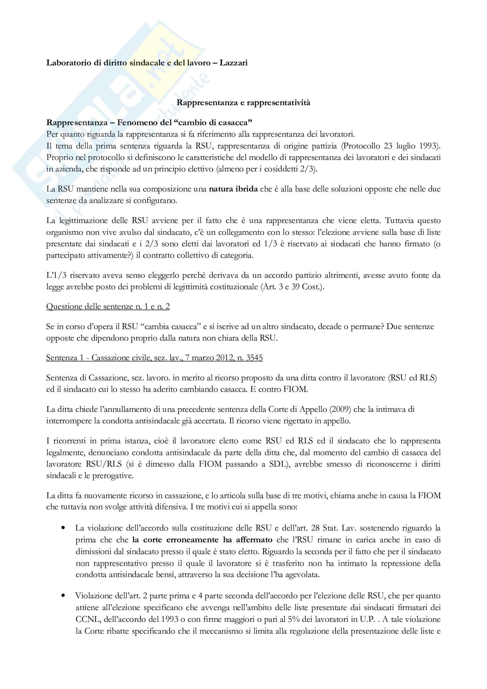 Appunti lezioni Laboratorio di diritto sindacale e del lavoro