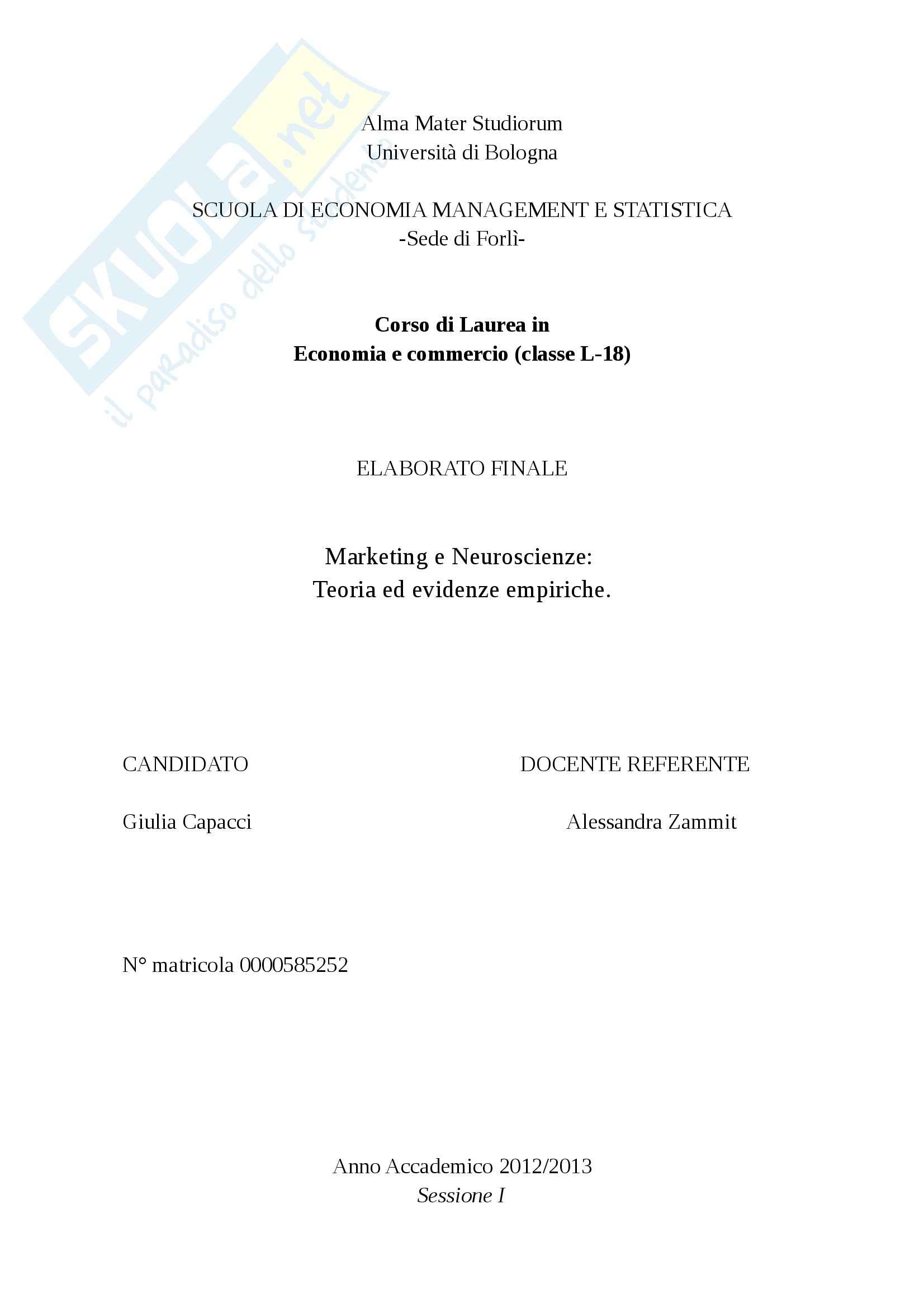 Tesi - Marketing e neuroscienze