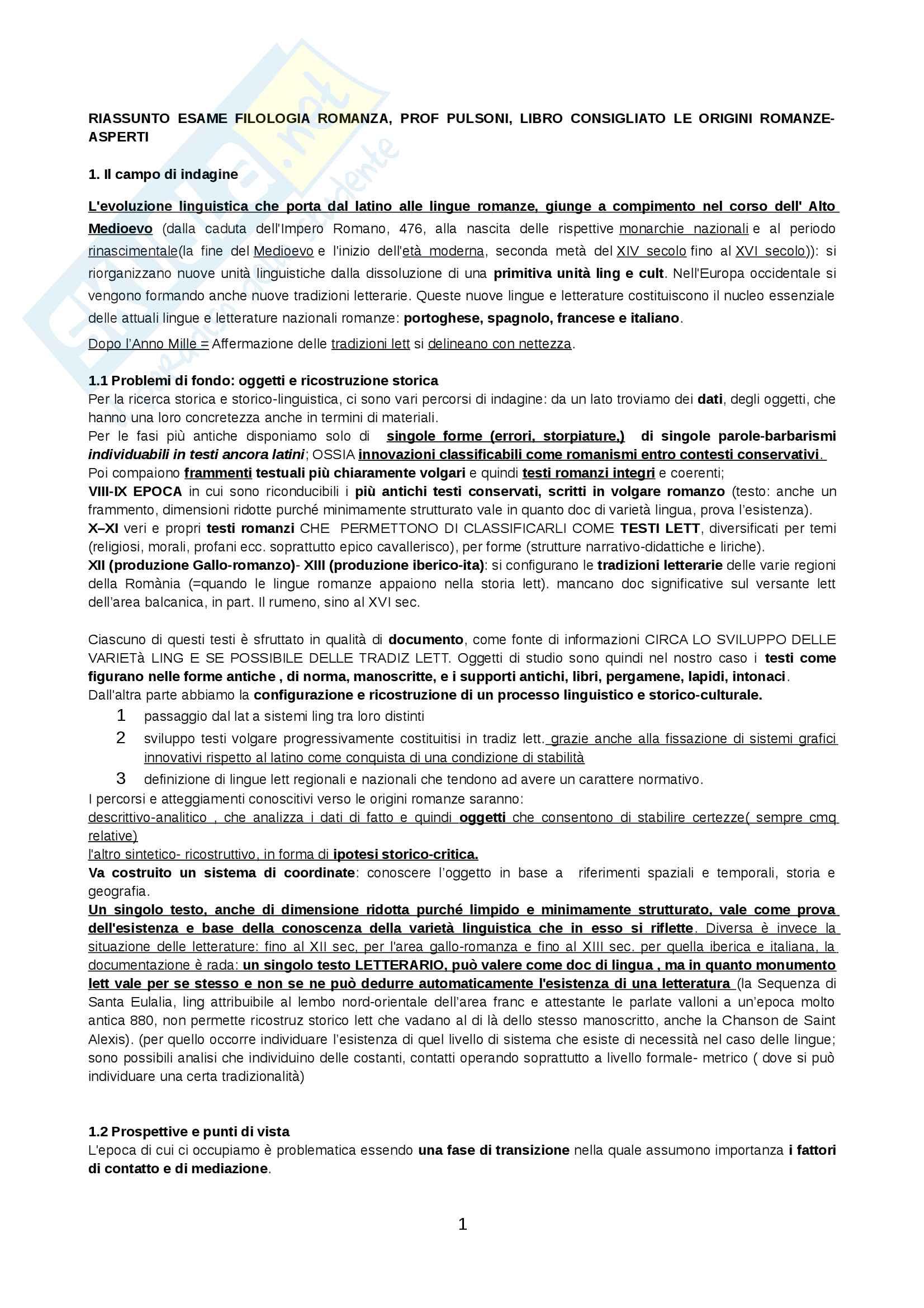 appunto C. Pulsoni Filologia romanza