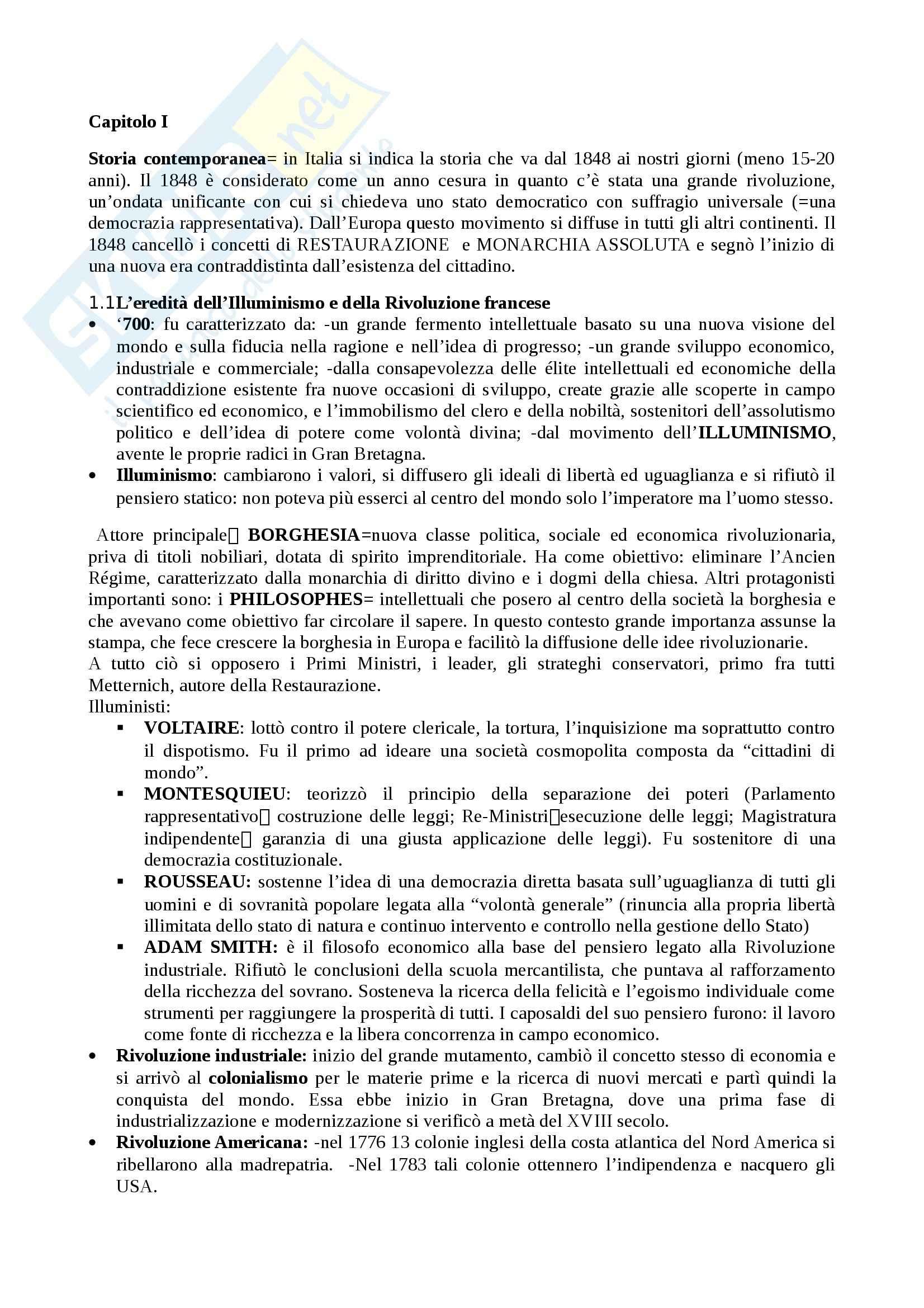 Riassunto esame Storia contemporanea, prof. Laschi, libro consigliato Le grandi problematiche dell'Ottocento, Pombeni