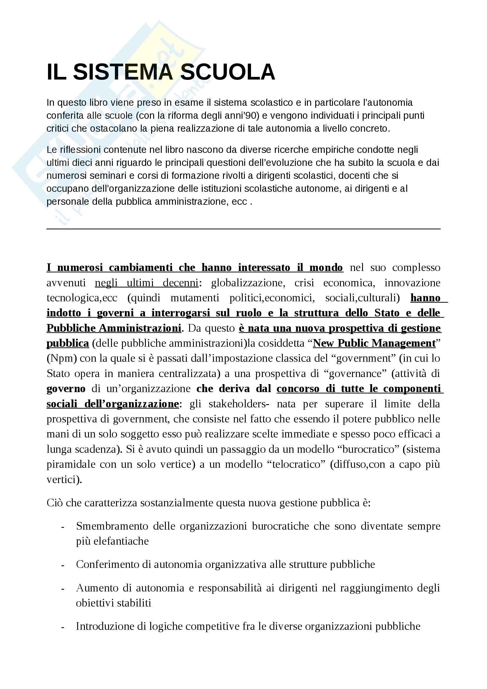 Riassunto esame Sociologia, prof. Cocozza, libro consigliato Il sistema scuola, Cocozza