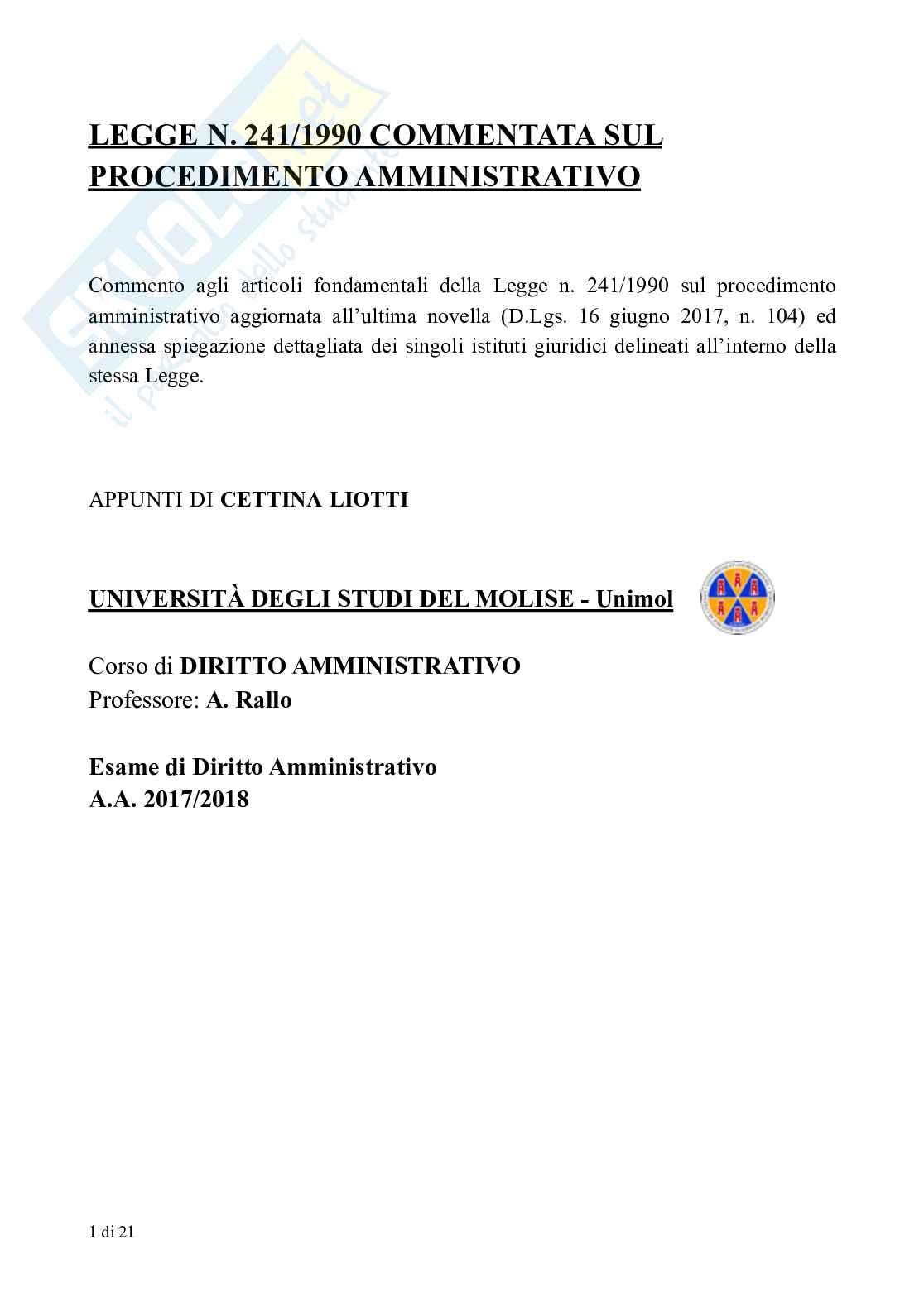Appunti di Diritto Amministrativo: legge sul procedimento amministrativo (L. 241/1990) commentata Pag. 1