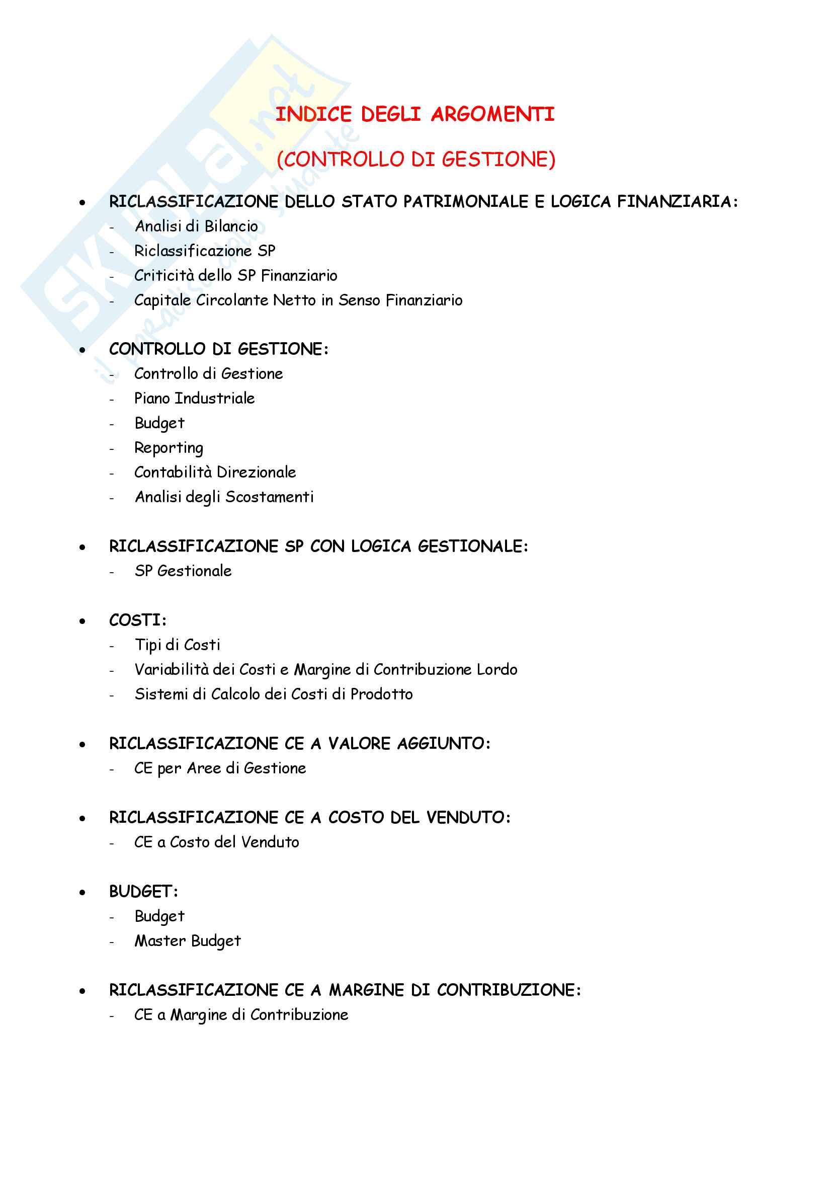 Appunti completi Controllo di gestione