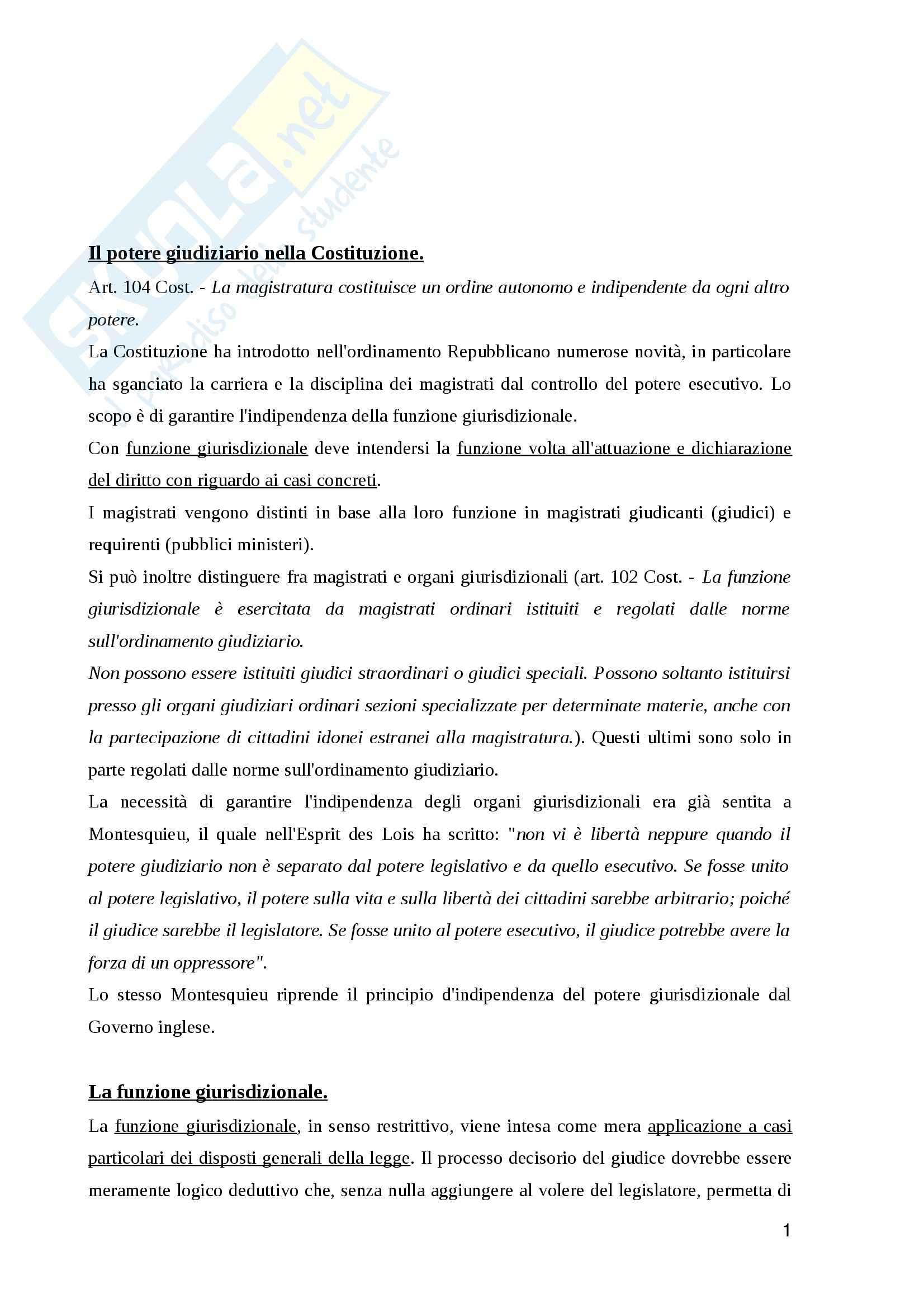 Riassunto esame Ordinamento giudiziario, prof. Bruti, libro consigliato Ordinamento Giudiziario, Bartole