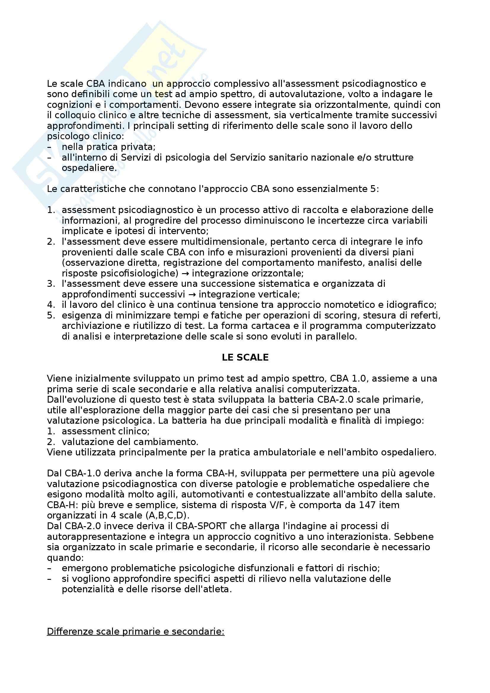 Riassunto esame Psicologia clinica, prof. Ghisi, libro consigliato CBA 2.0: La scala CBA, Cognitive Behavioural Assessment