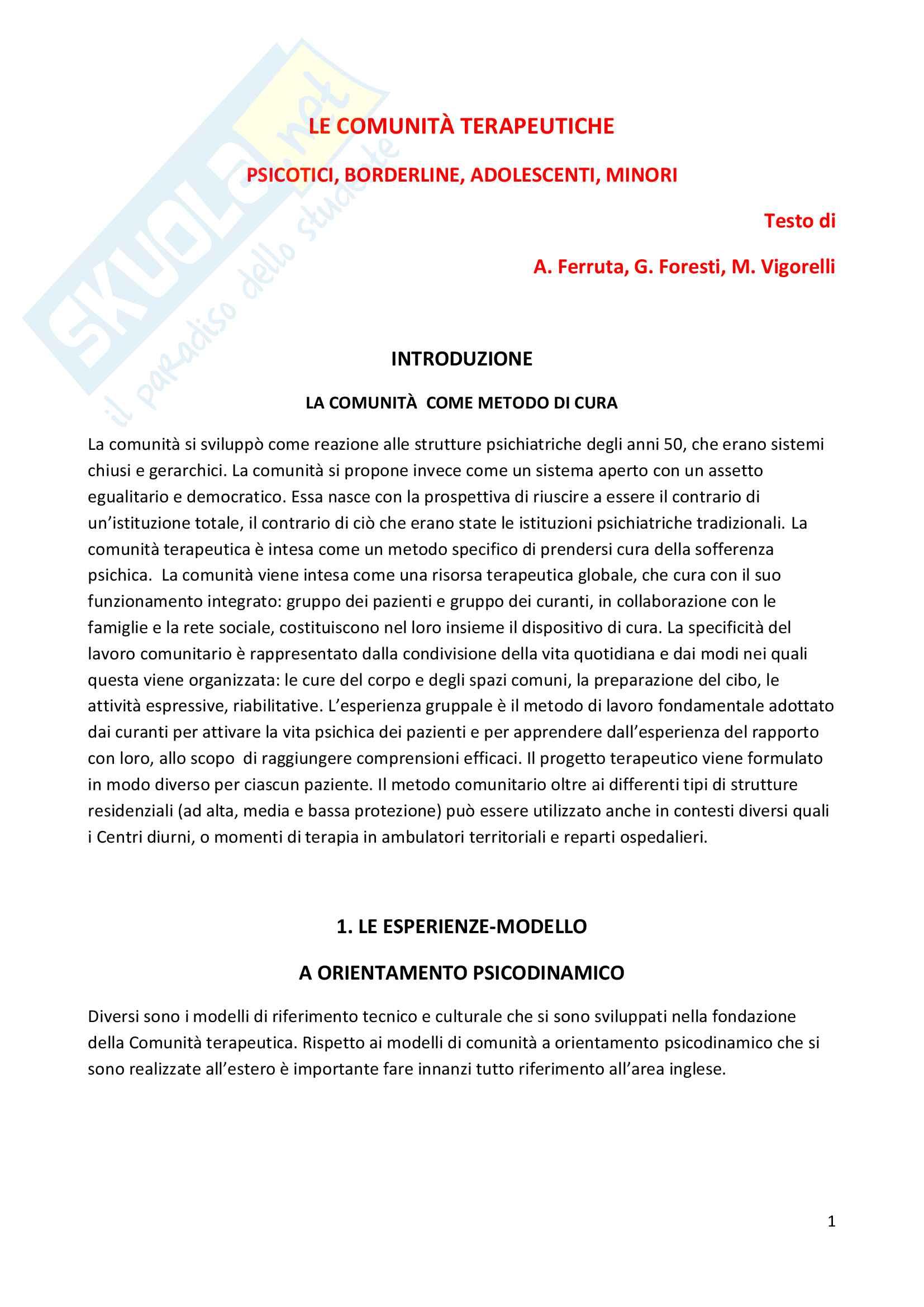 Riassunto esame Psicodinamica del setting, prof. Giannone, libro consigliato Le comunità terapeutiche, Ferruta, Foresti e Vigorelli
