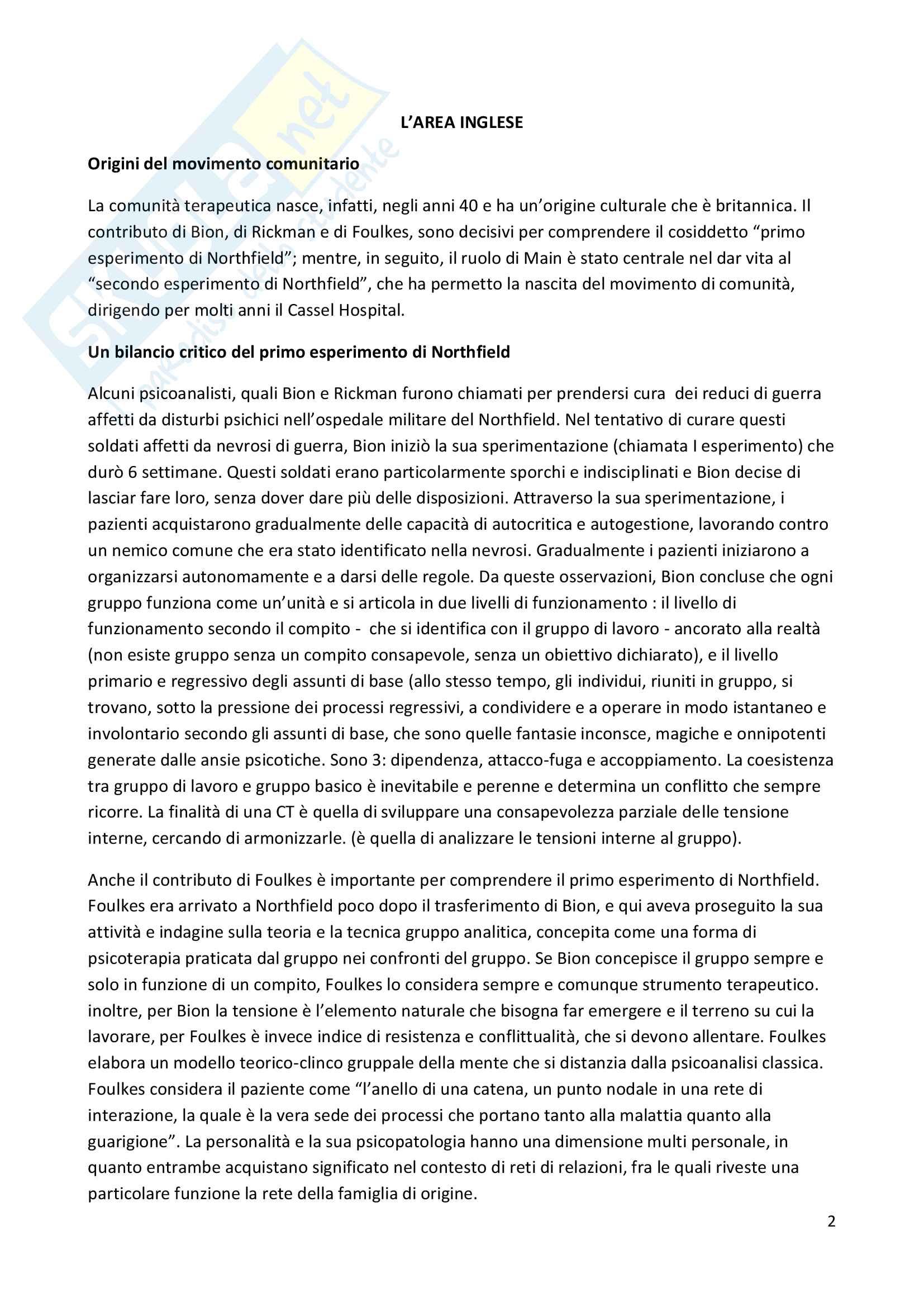 Riassunto esame Psicodinamica del setting, prof. Giannone, libro consigliato Le comunità terapeutiche, Ferruta, Foresti e Vigorelli Pag. 2