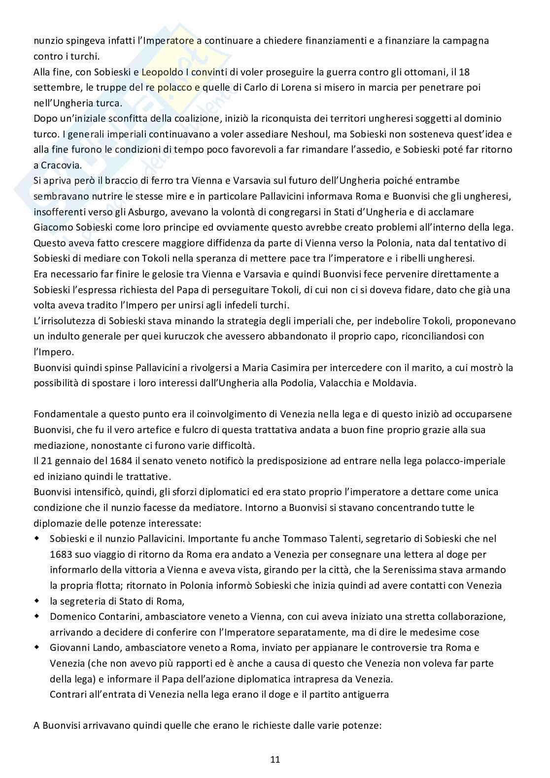 Riassunto esame Storia dell'Europa orientale, prof. Boccolini, libro consigliato Un lucchese al servizio della Santa Sede Francesco Buonvisi nunzio a Colonia Varsavia e Vienna, Boccolini Pag. 11