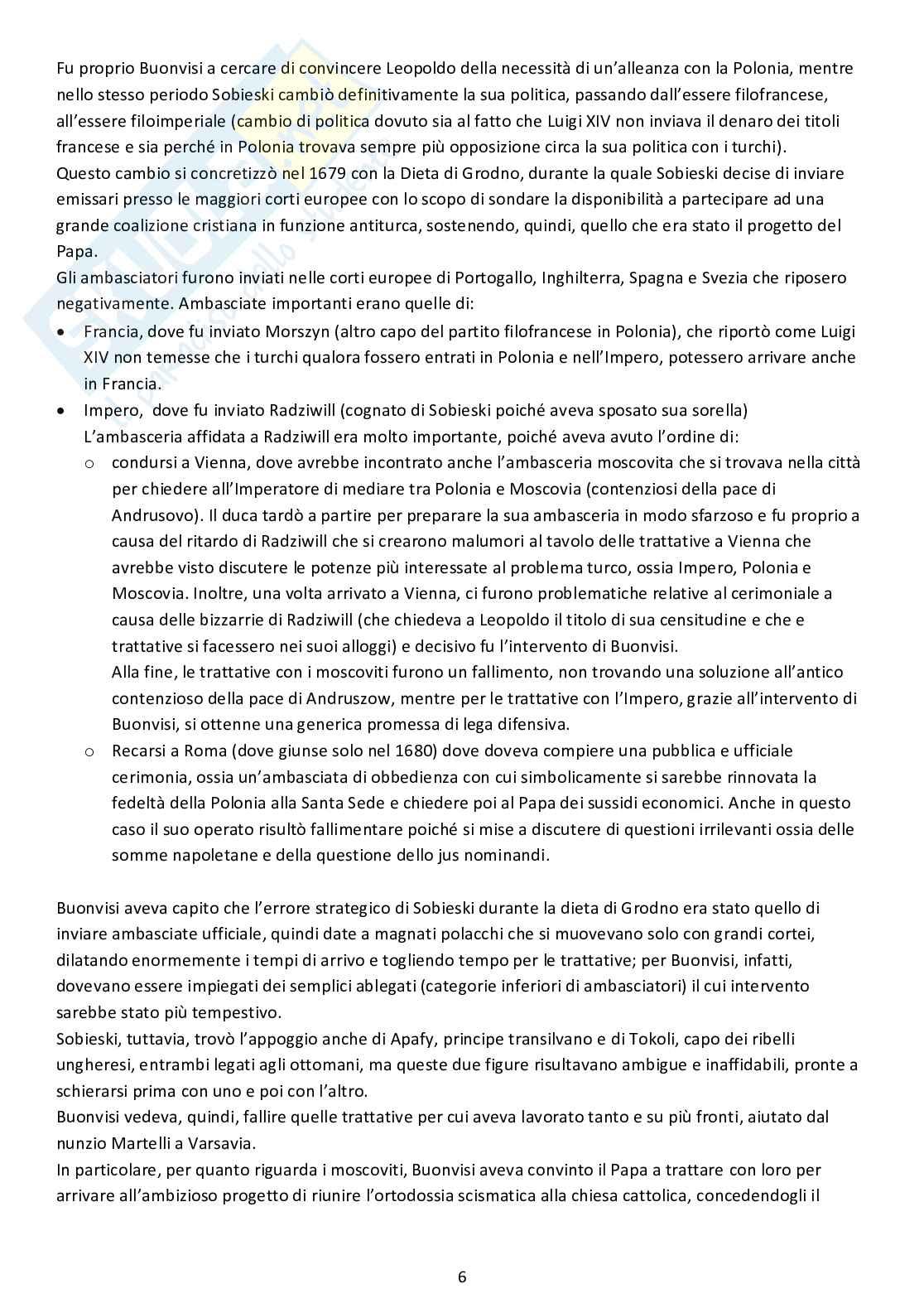 Riassunto esame Storia dell'Europa orientale, prof. Boccolini, libro consigliato Un lucchese al servizio della Santa Sede Francesco Buonvisi nunzio a Colonia Varsavia e Vienna, Boccolini Pag. 6