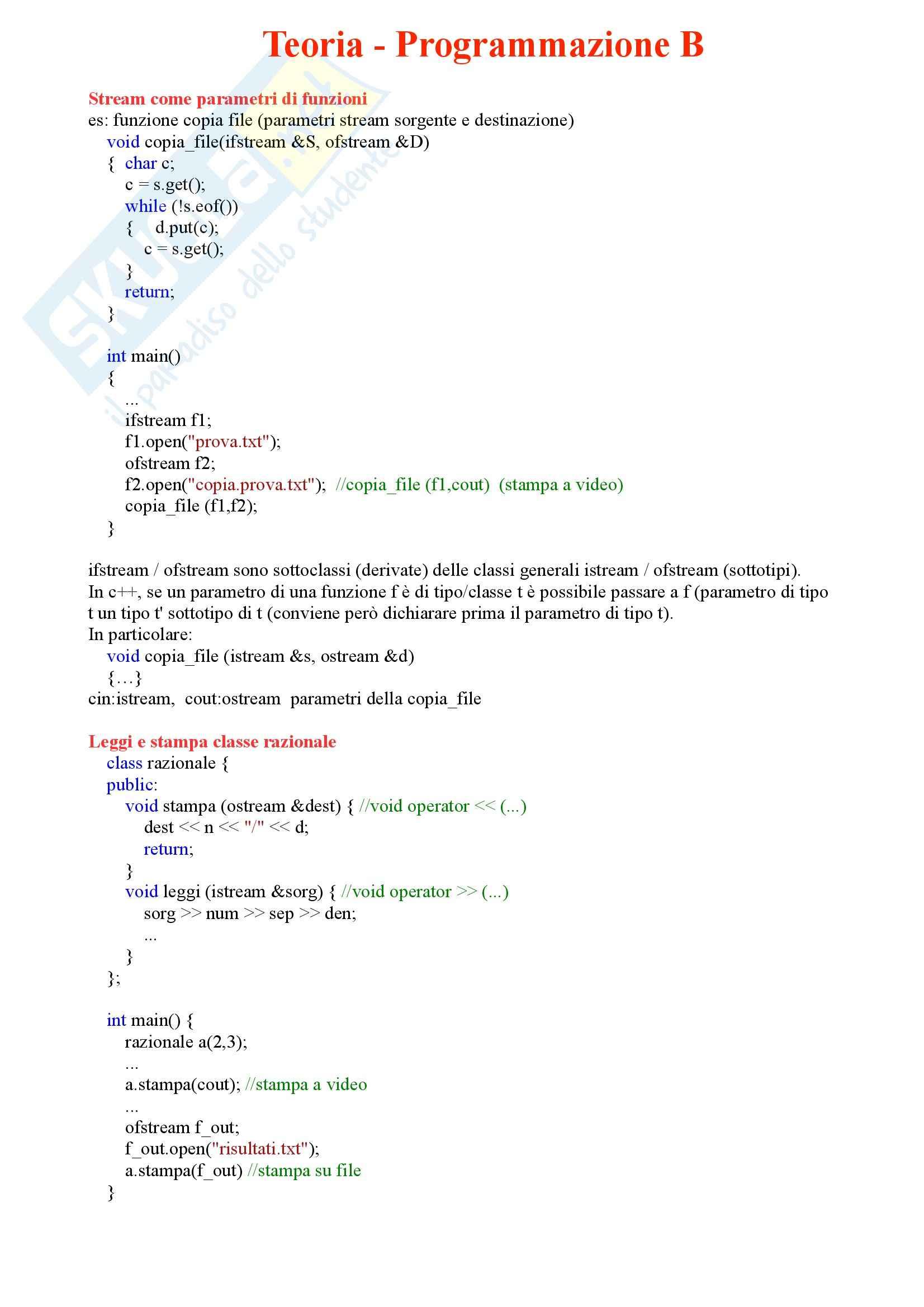 Programmazione B - Tutta la teoria
