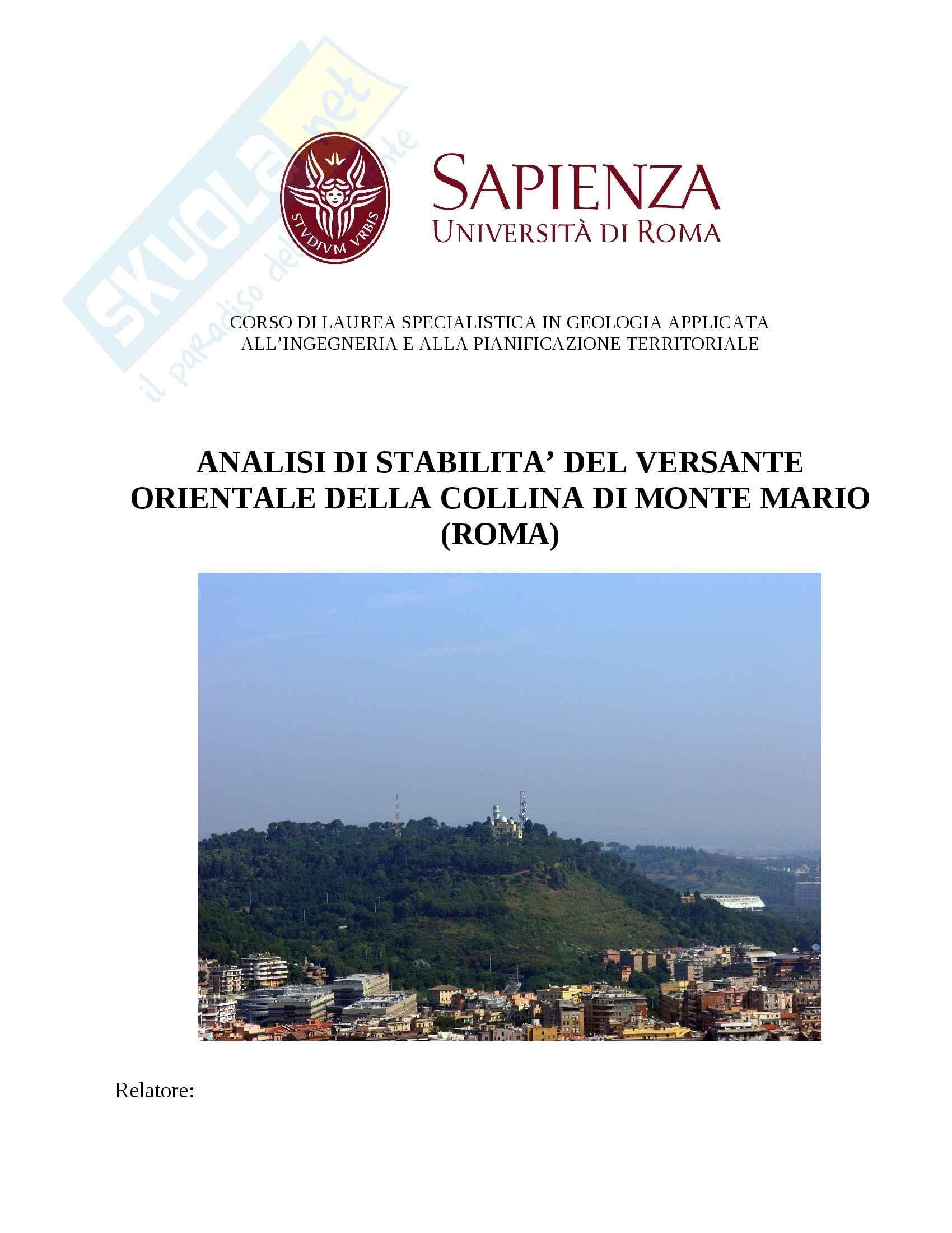 Relazione Analisi di stabilità dei versanti Monte Mario (RM)