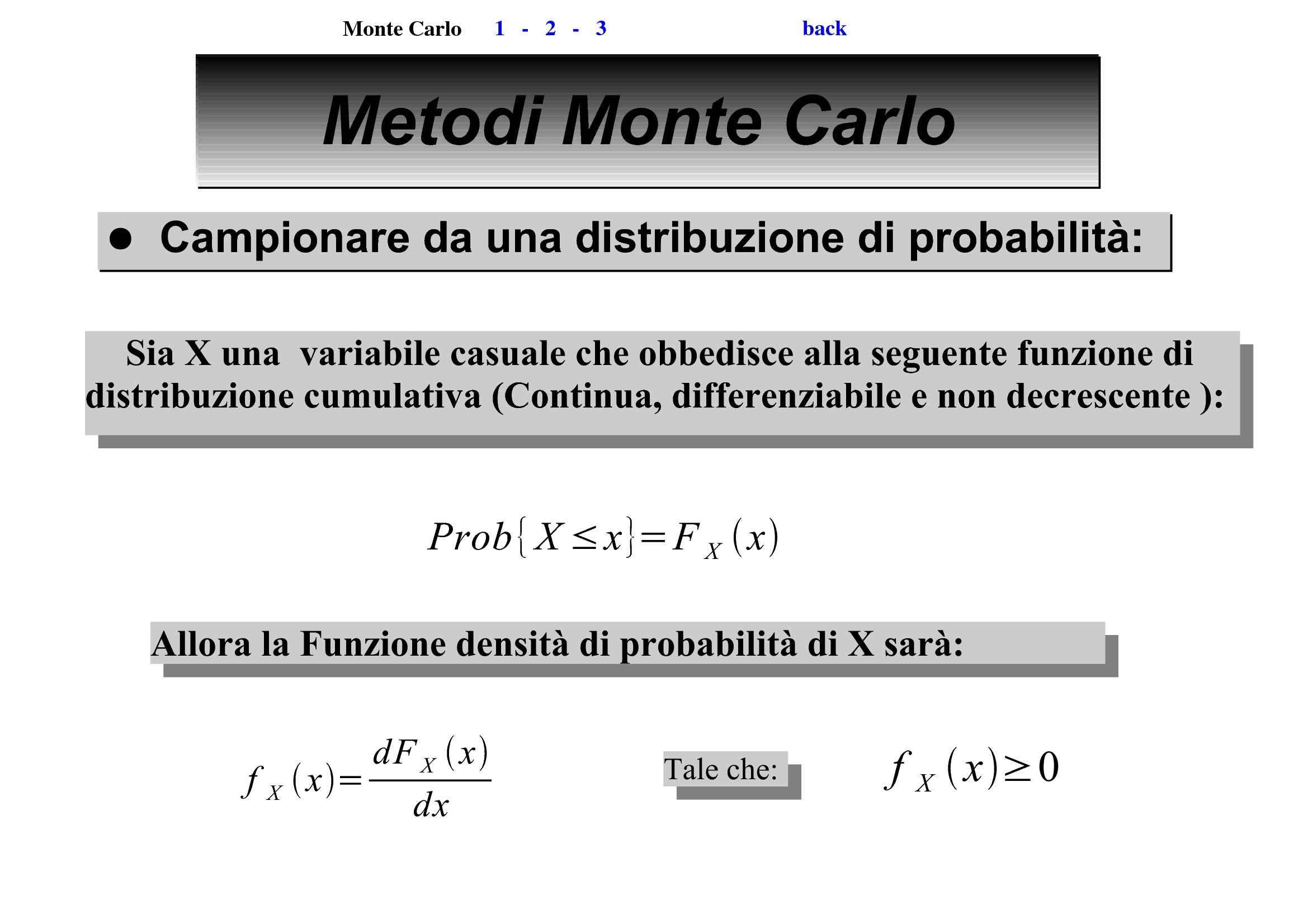 Metodo Monte Carlo - Distribuzione di probabilità