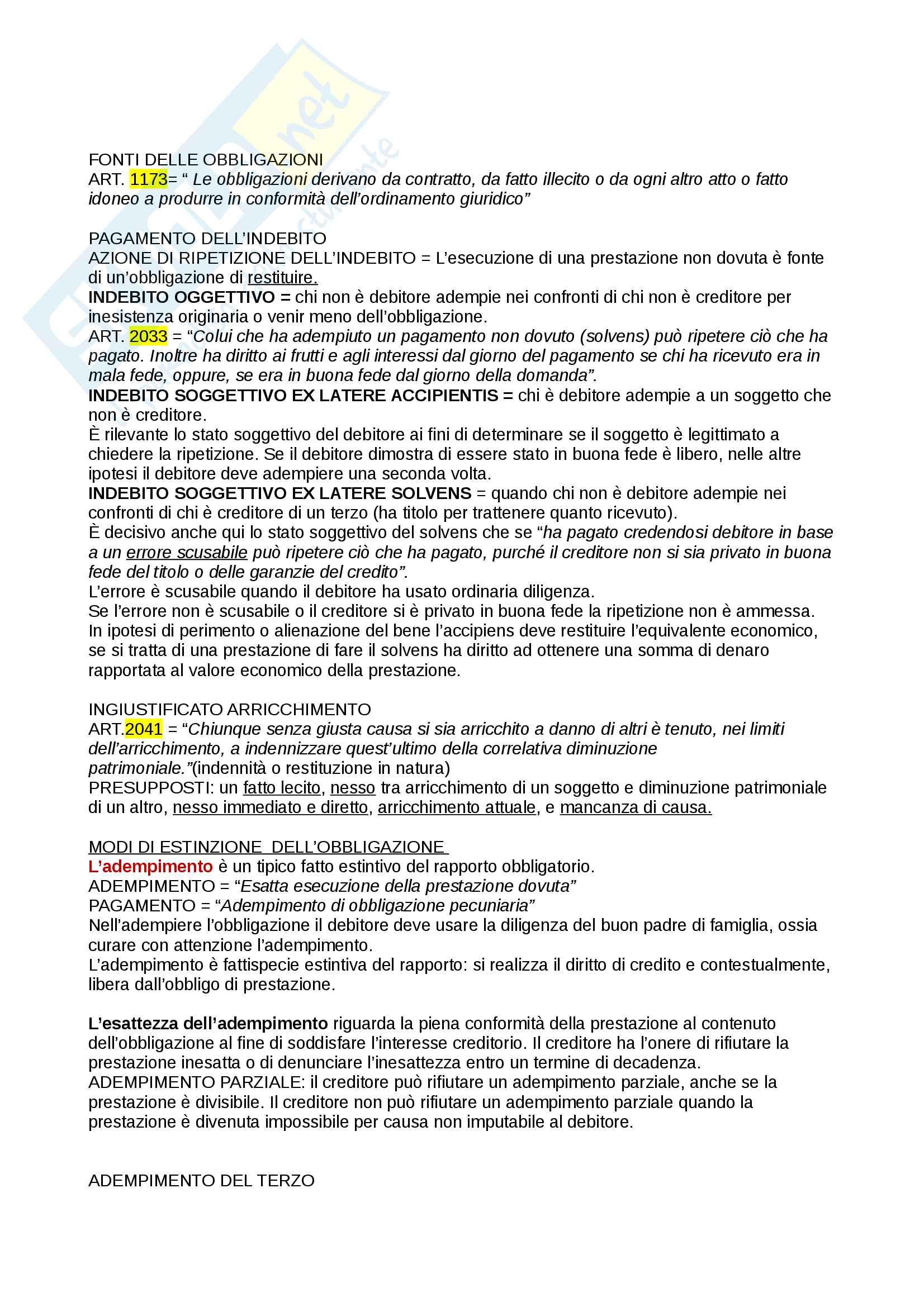 Diritto privato - Obbligazione Pag. 2