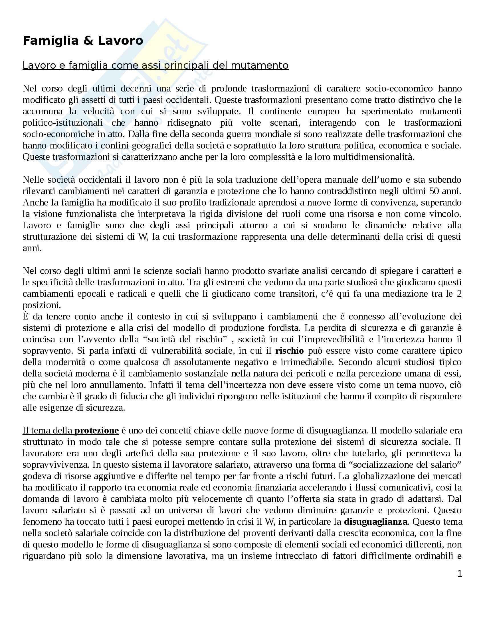 Riassunto esame Politiche Sociali, prof. Diamantini, libro consigliato Famiglie e Lavoro: Trasformazioni ed Equilibri, Migliavacca