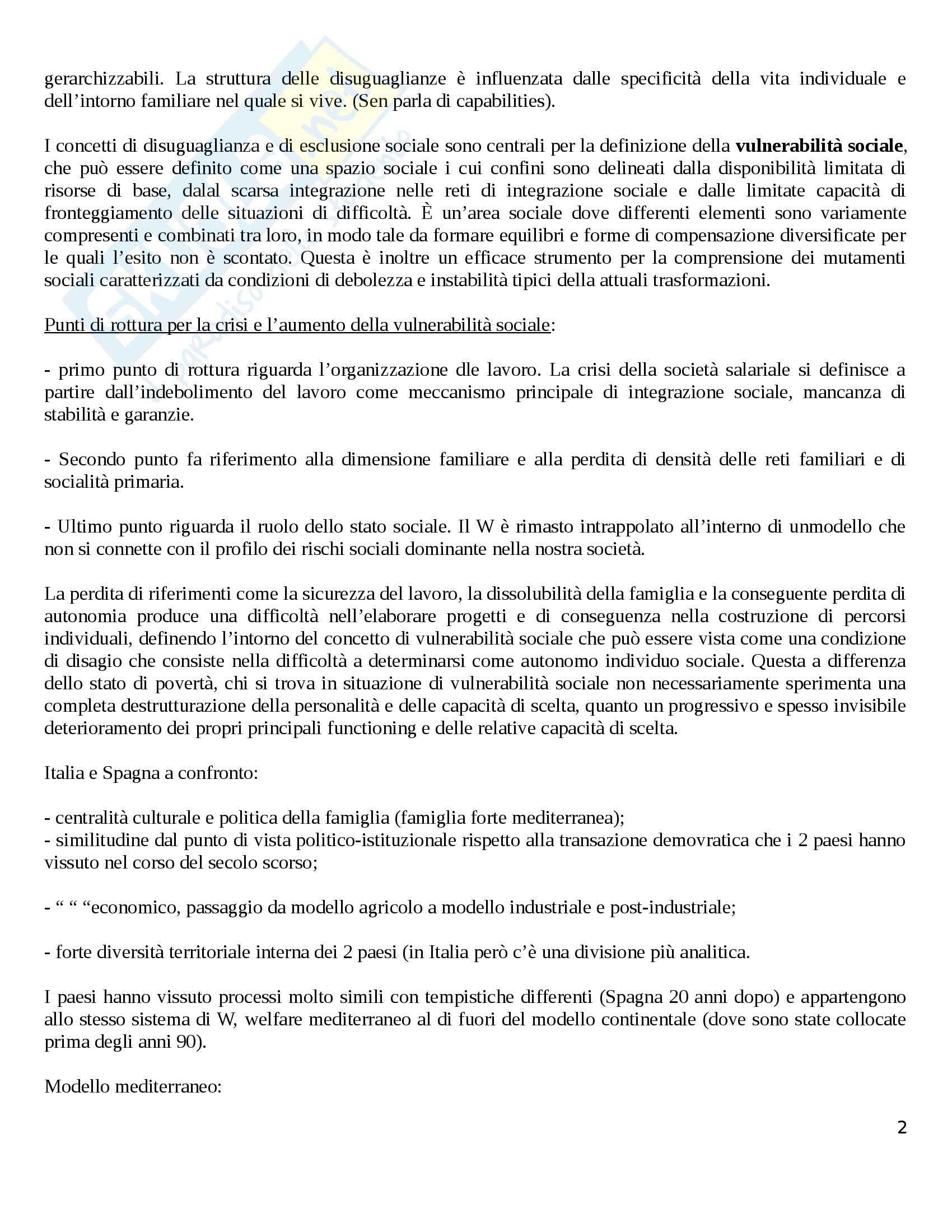Riassunto esame Politiche Sociali, prof. Diamantini, libro consigliato Famiglie e Lavoro: Trasformazioni ed Equilibri, Migliavacca Pag. 2