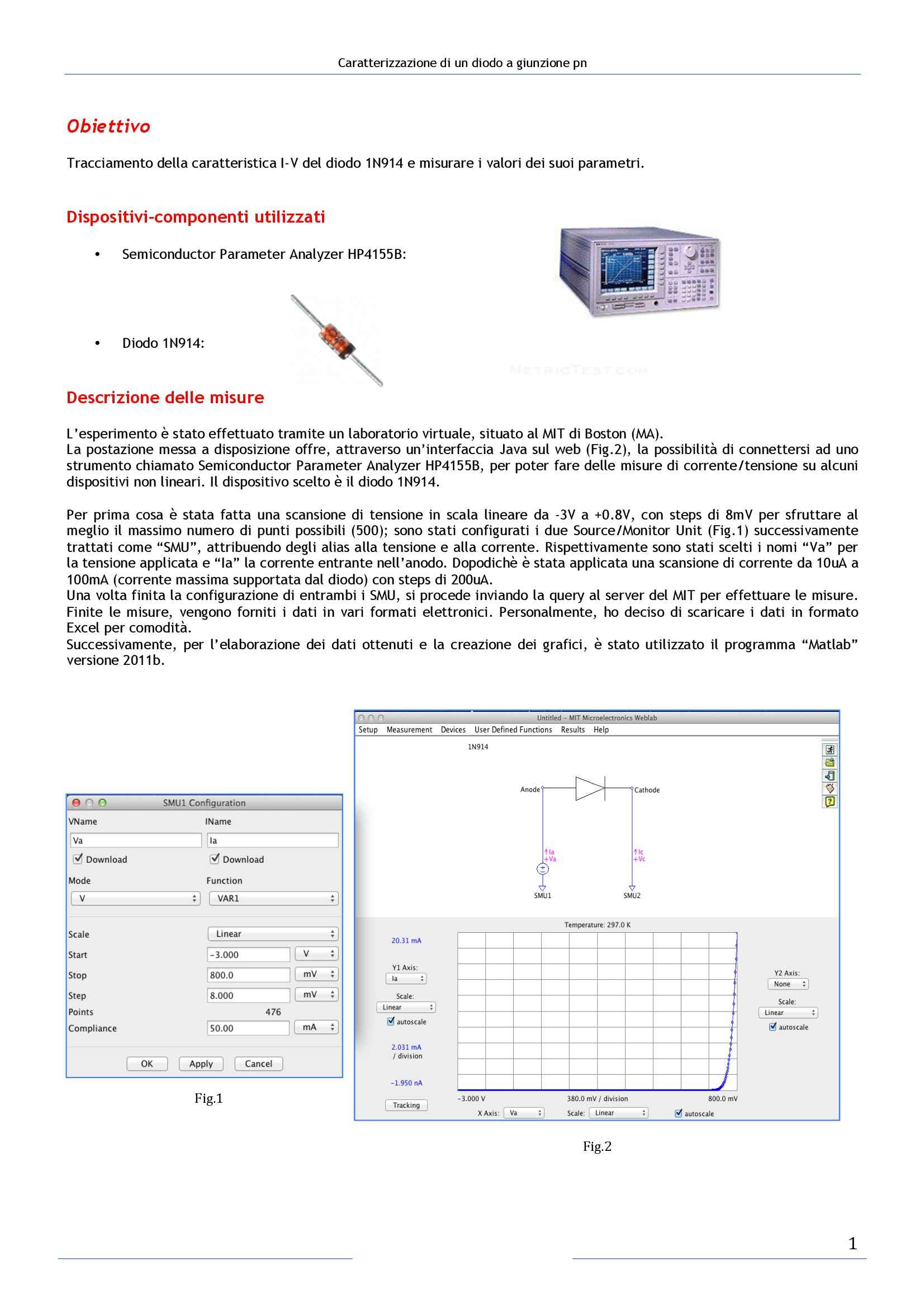 Elettronica 1 - Caratterizzazione di un diodo a giunzione pn: Relazione 1