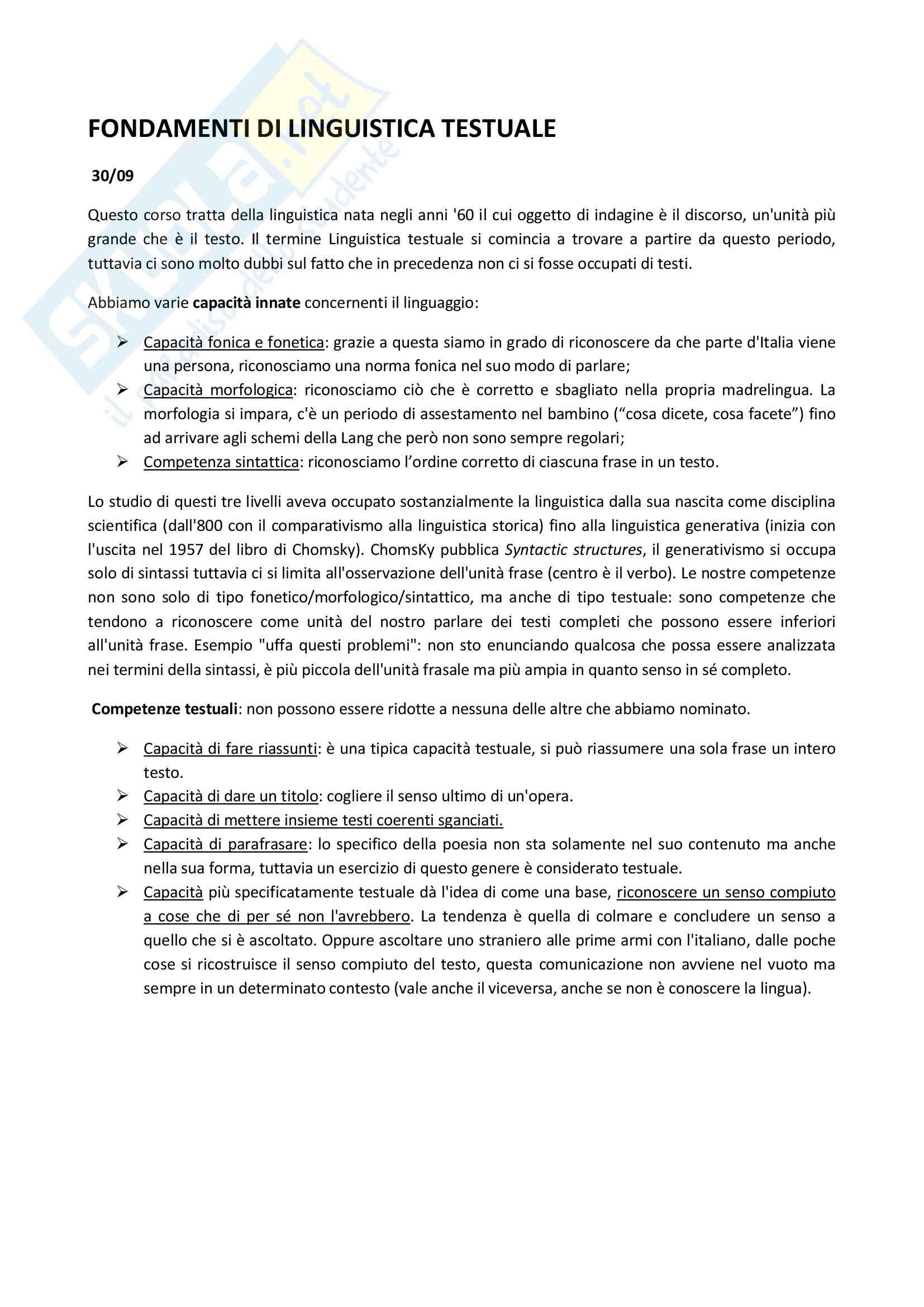Fondamenti di Linguistica Testuale - Appunti
