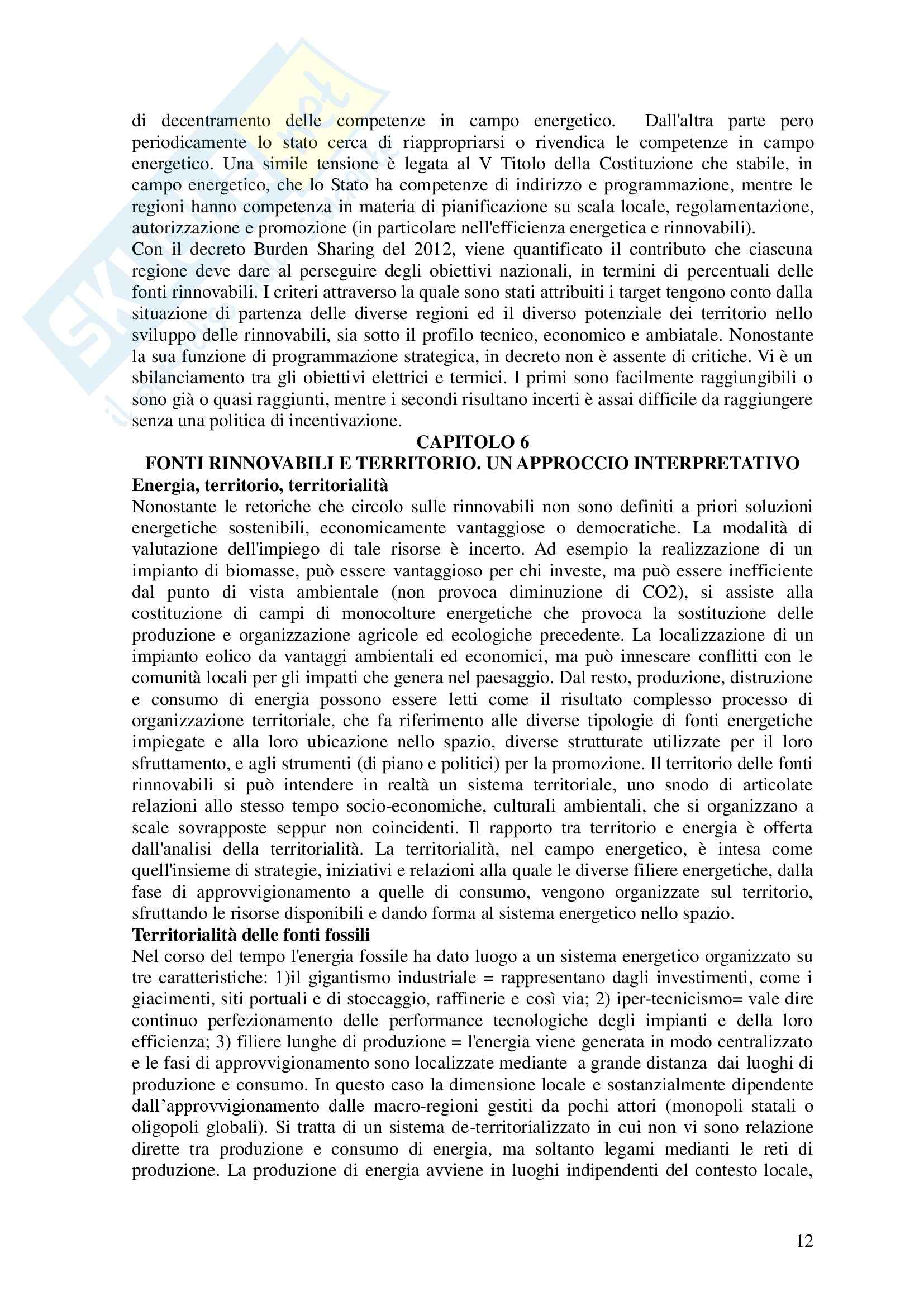 Riassunto esame Politiche del territorio e sostenibilità, libro adottato Geografia delle fonti rinnovabili, Puttili Pag. 11