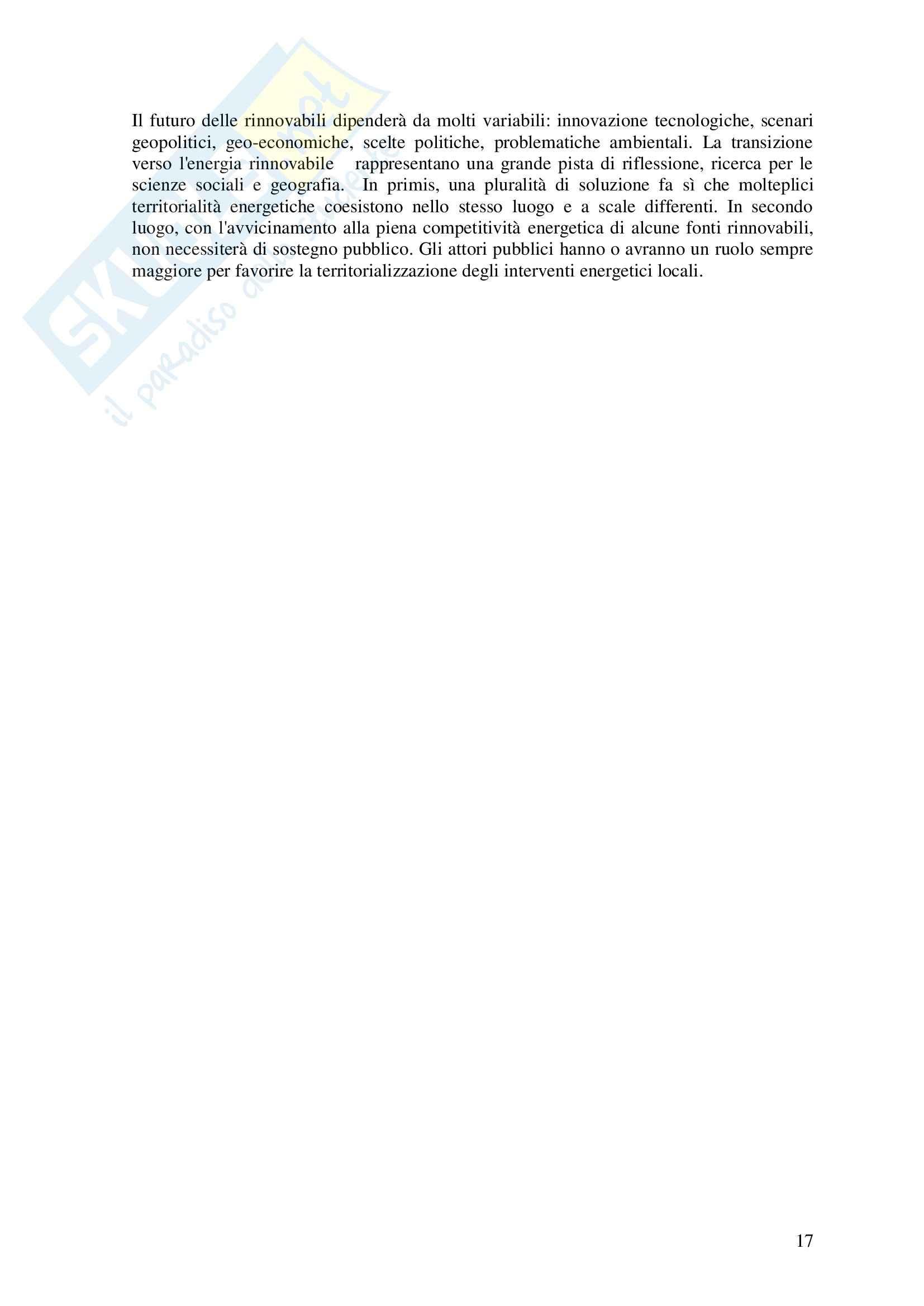 Riassunto esame Politiche del territorio e sostenibilità, libro adottato Geografia delle fonti rinnovabili, Puttili Pag. 16