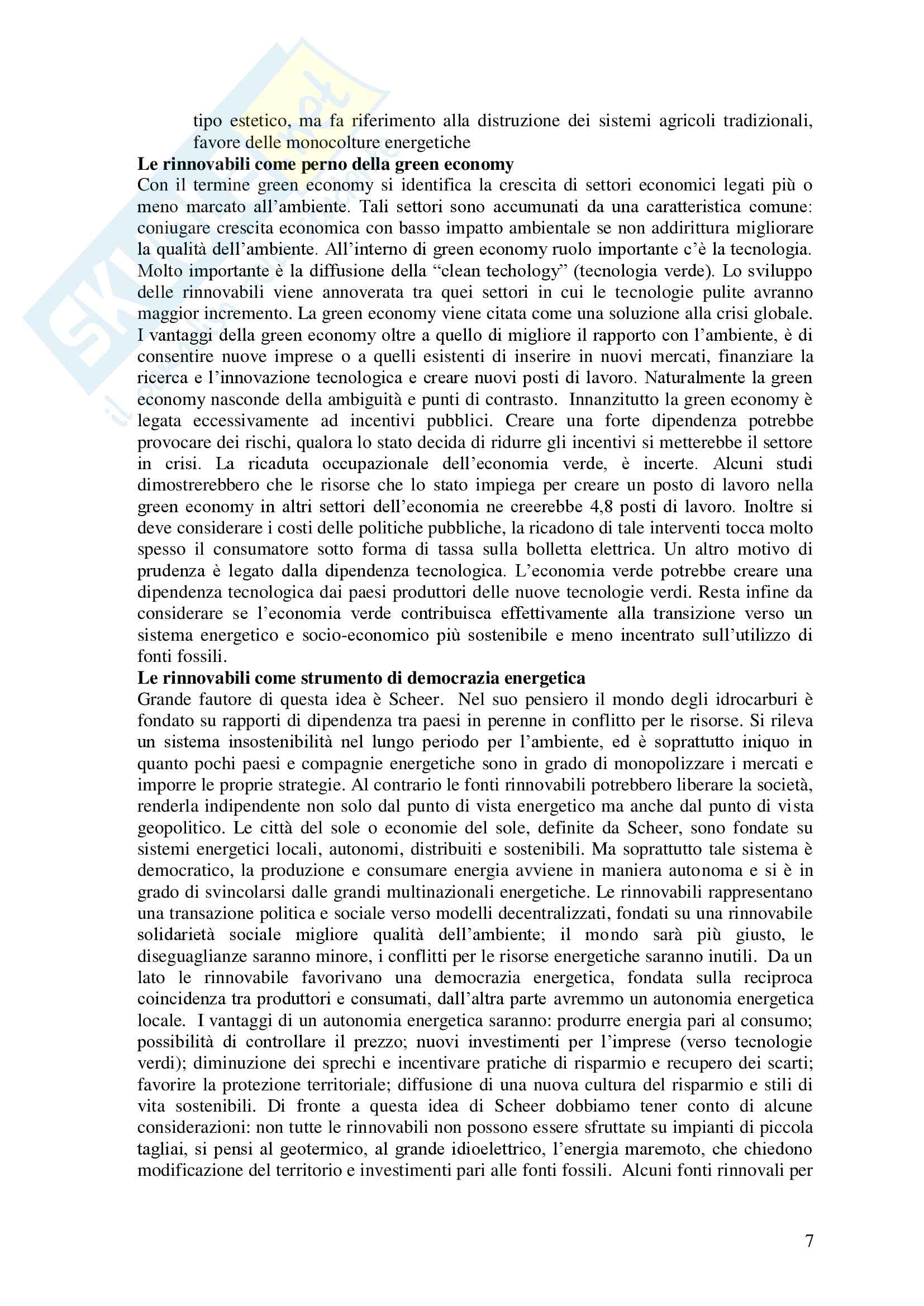 Riassunto esame Politiche del territorio e sostenibilità, libro adottato Geografia delle fonti rinnovabili, Puttili Pag. 6