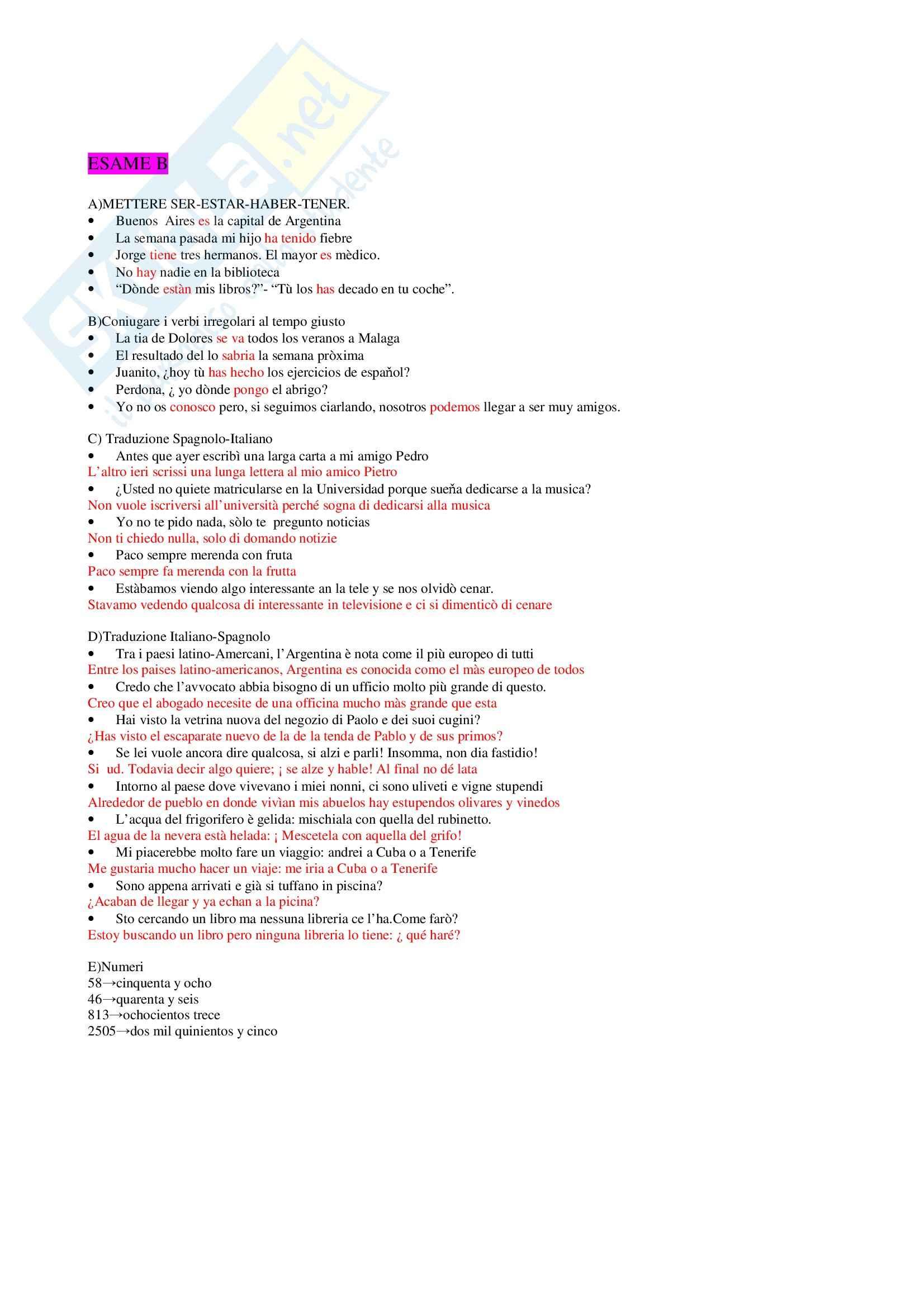 Lingua spagnola 1 - Esercizi