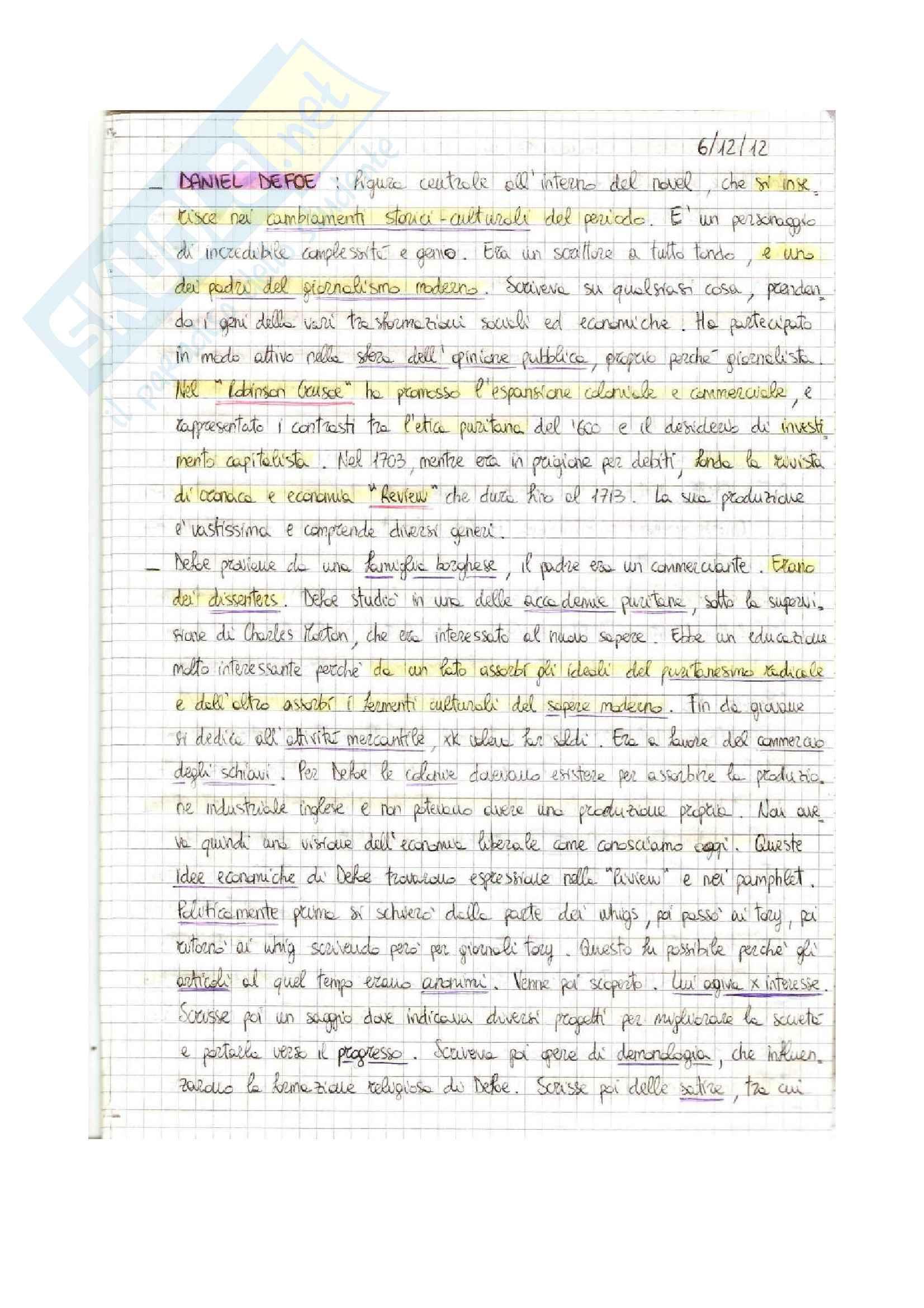 Letteratura Inglese-Defoe, Robinson Cruso, Pamela