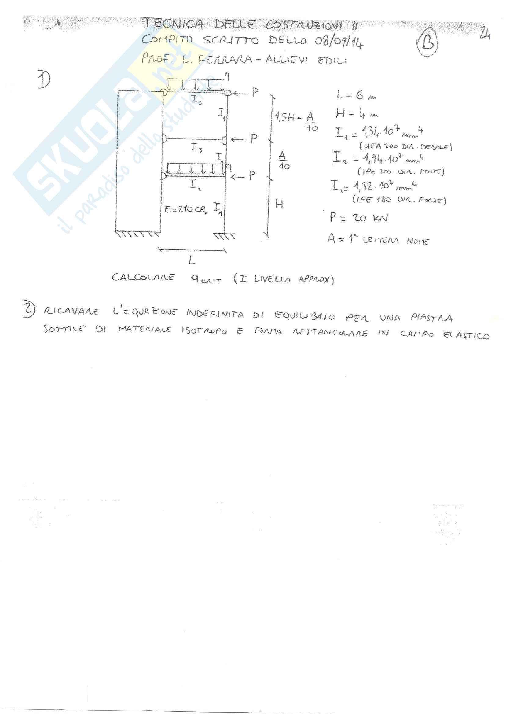 Tecnica delle Costruzioni II - Temi D'Esame C (SVOLTI)