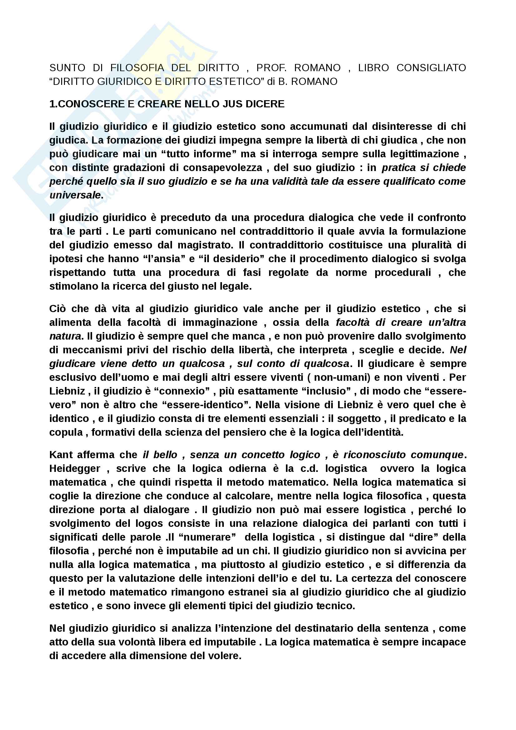 """Riassunto esame Filosofia del diritto, Prof. Romano, Libro consigliato """"Diritto giuridico e diritto estetico di B. Romano"""