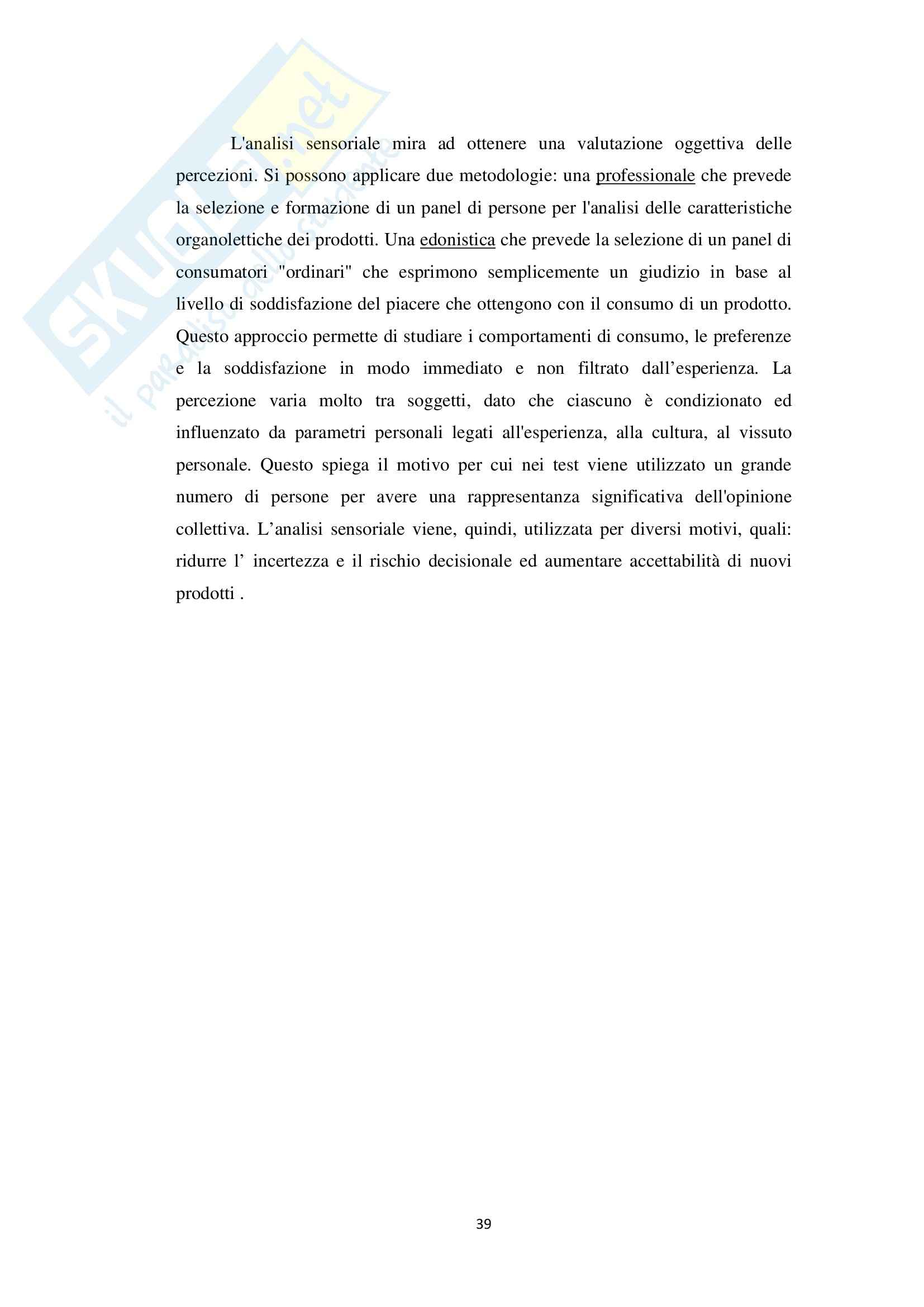 Valutazione sensoriale in prodotti di pasticceria artigianale freschi e surgelati, Analisi chimiche Pag. 41