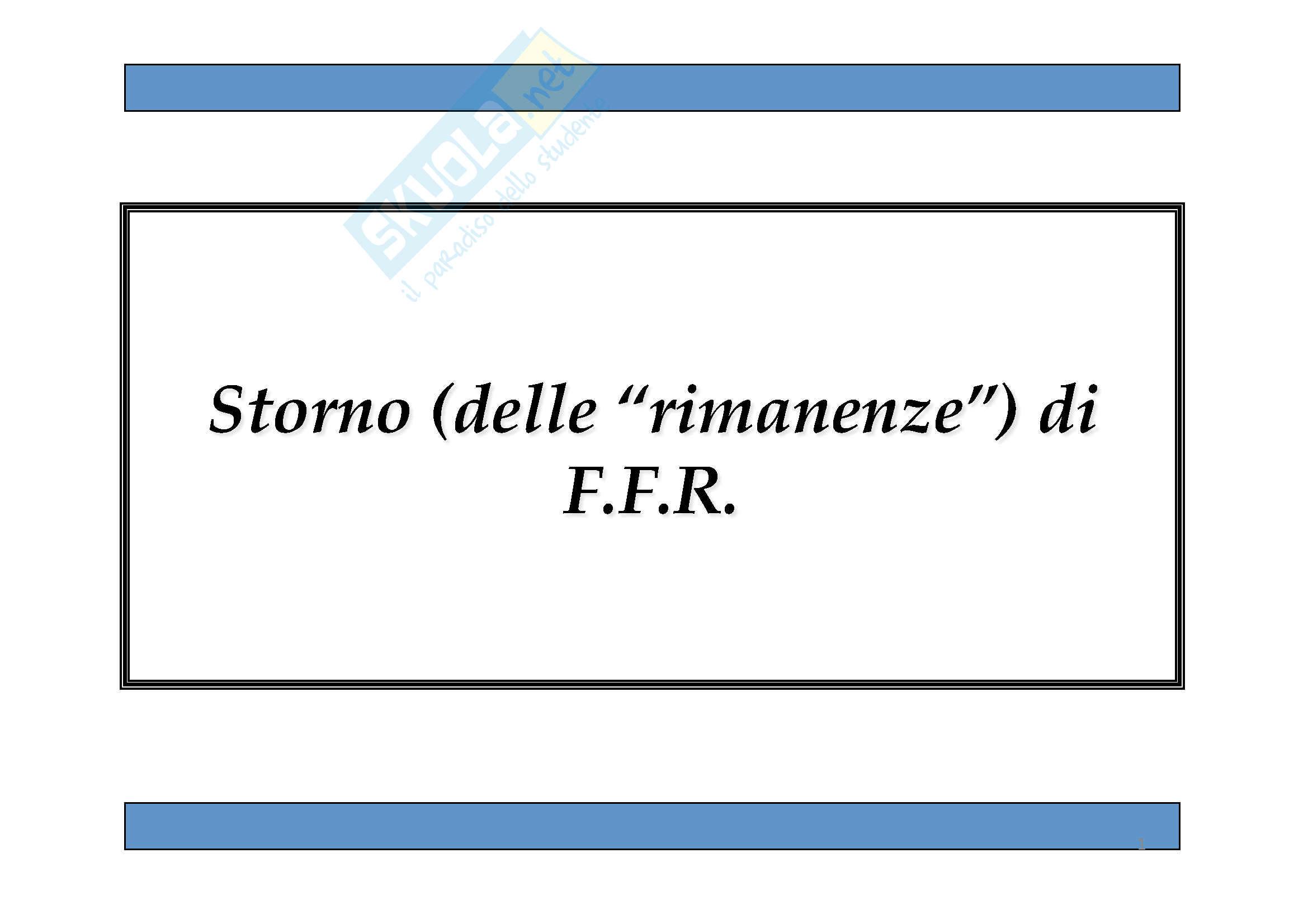 Economia aziendale - Storno di F.F.R.