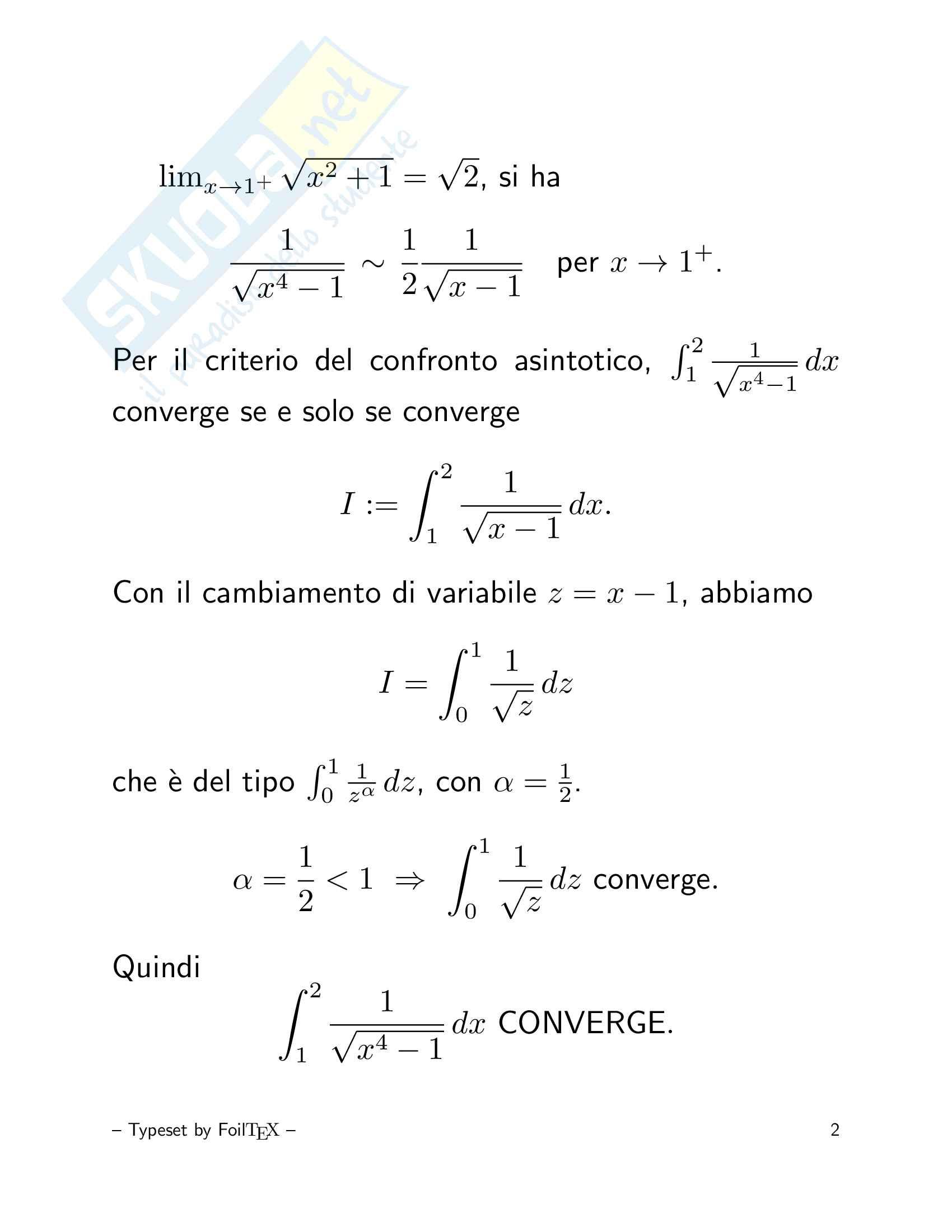 Integrali impropri - Convergenza Pag. 2