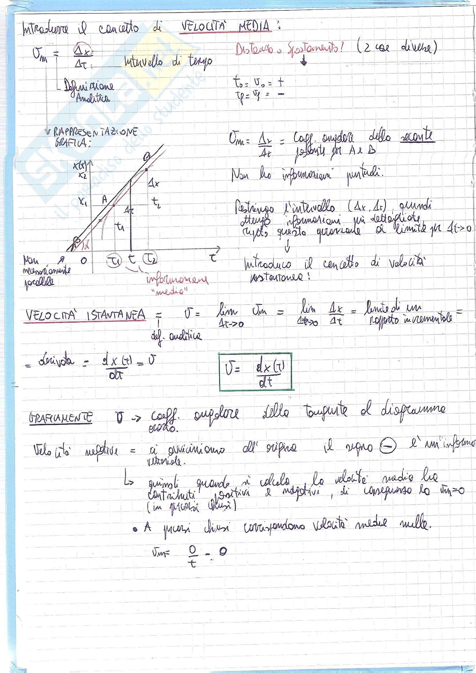 Fisica generale - moto rettilineo