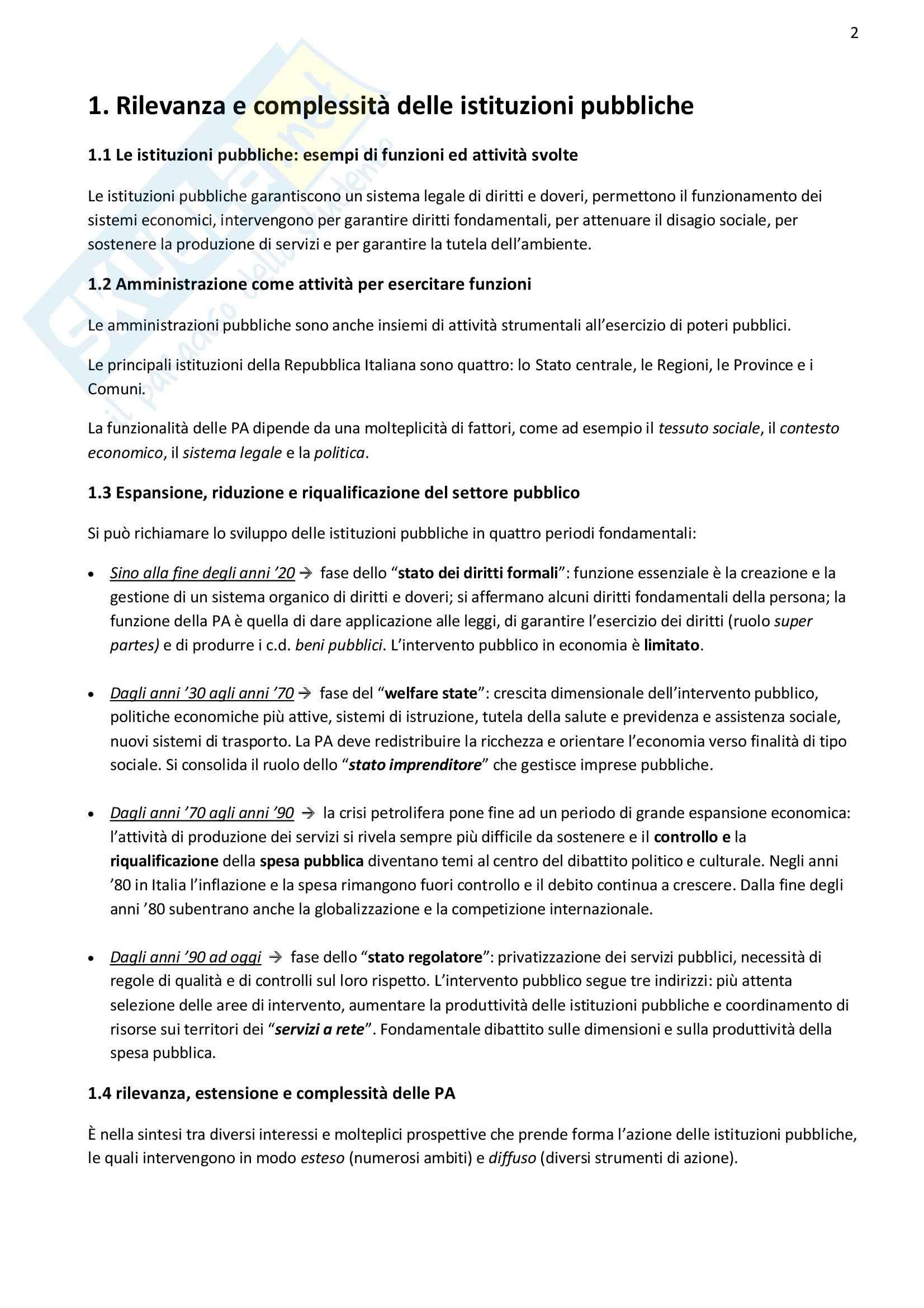Riassunto esame Economia delle pa, prof. Borgonovi, libro consigliato Management delle Istituzioni Pubbliche