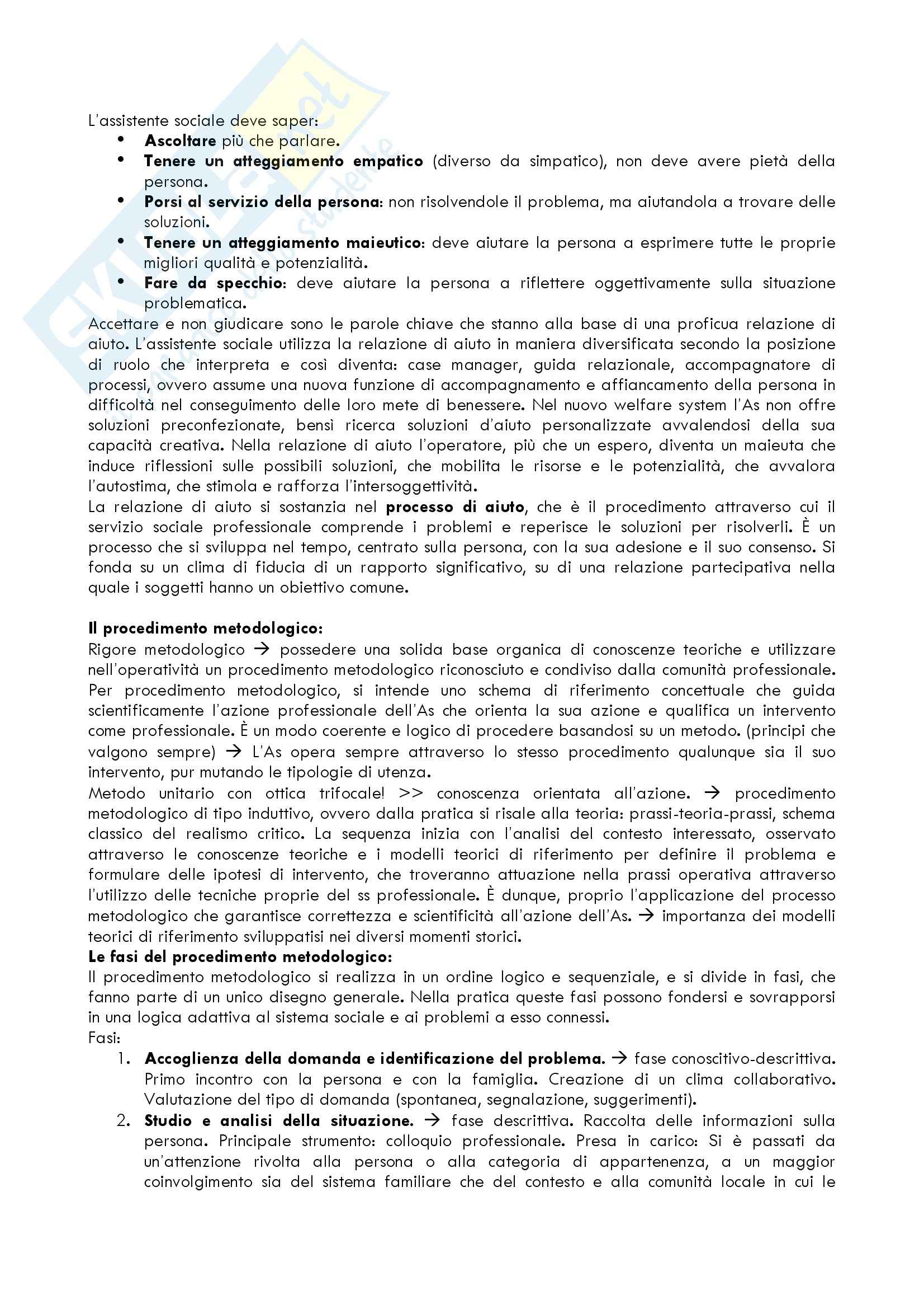 Riassunto esame Metodi e Tecniche del Servizio Sociale, prof. Cellini, libro consigliato Assistenti Sociali Professionisti di Zilianti Pag. 2