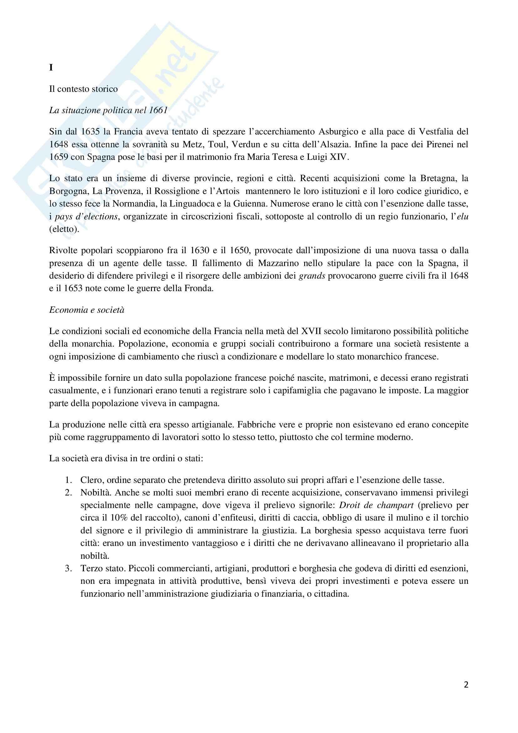 Riassunto esame Storia Moderna, prof. Pacini, libro consigliato Luigi XIV e la Francia del Suo Tempo, Campbell