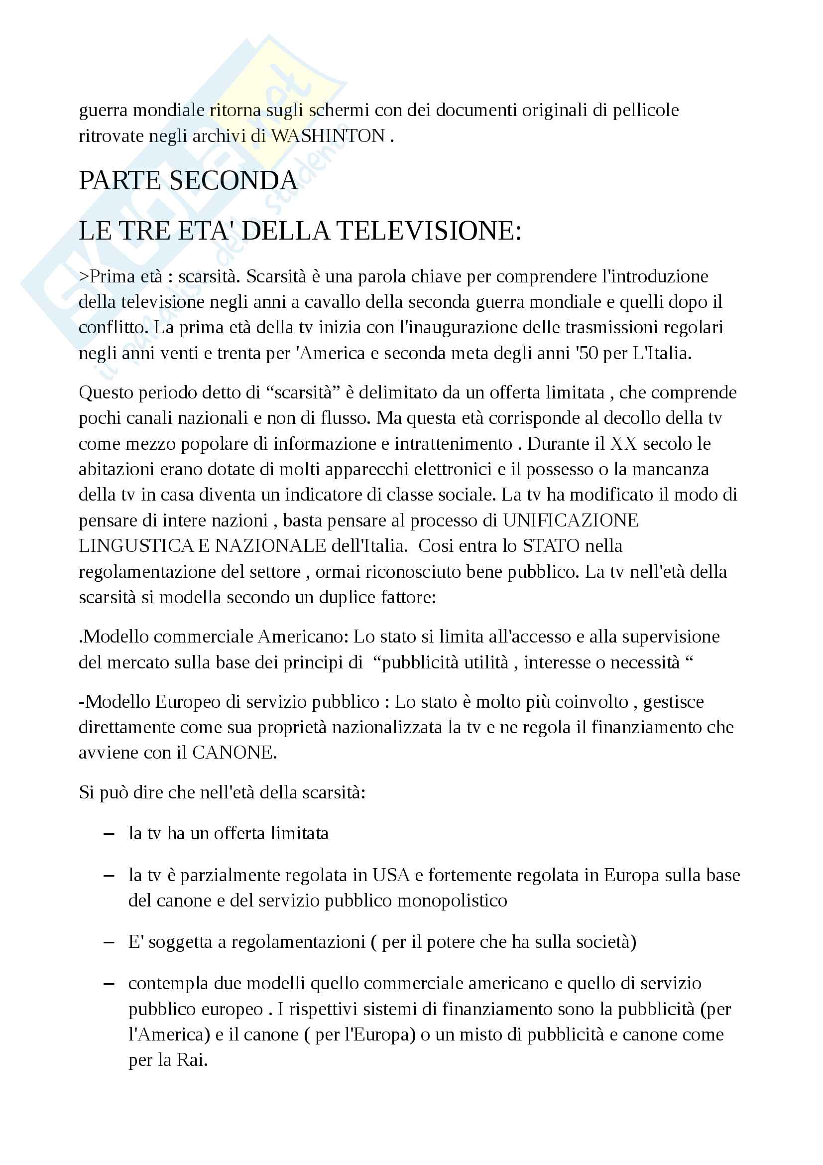 Riassunto esame di storia della radio e della televisione, Prof Innocenti, libro consigliato Che cos'è la televisione, Grasso Pag. 41
