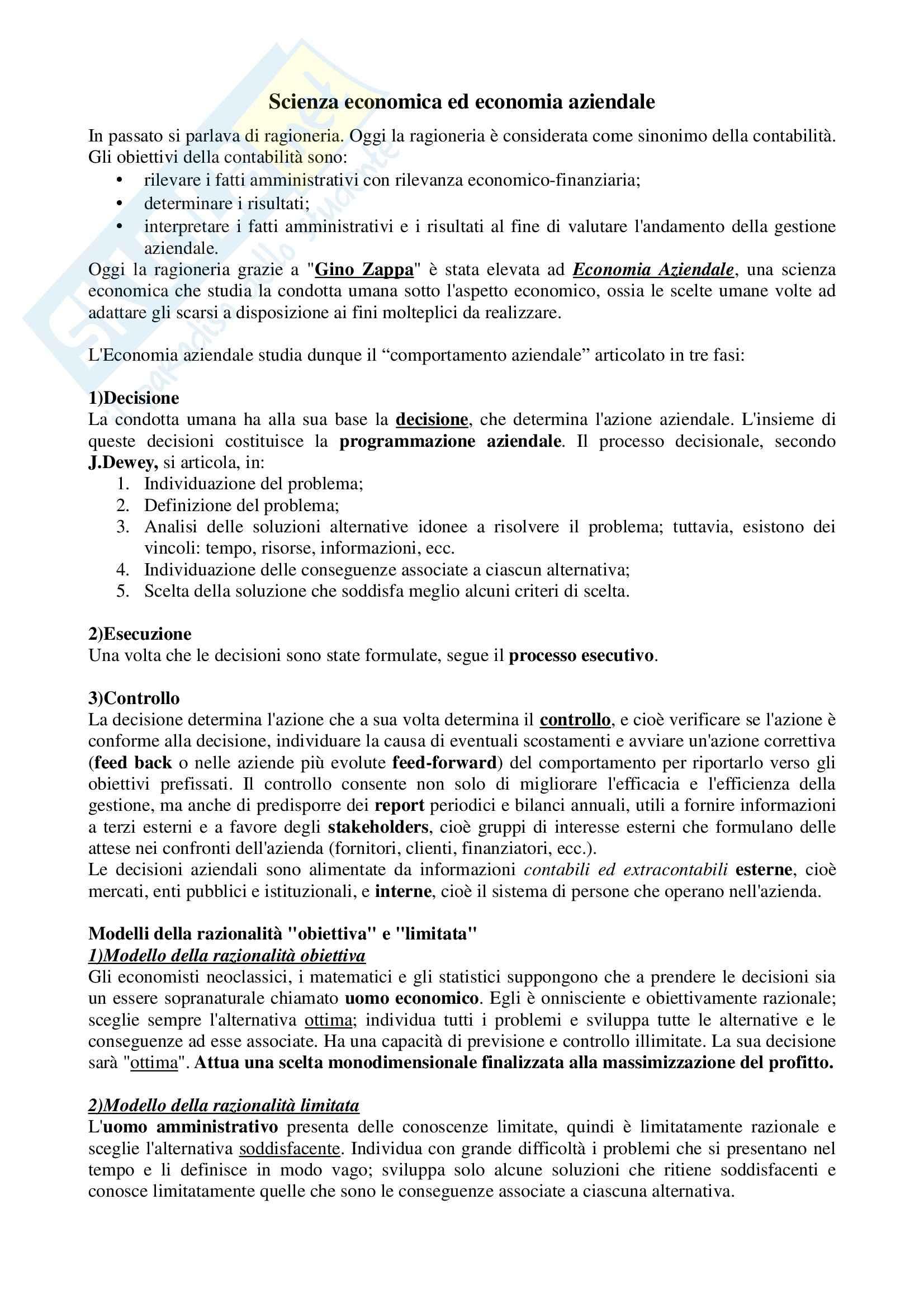 Lineamenti di economia aziendale, Zanda - Appunti