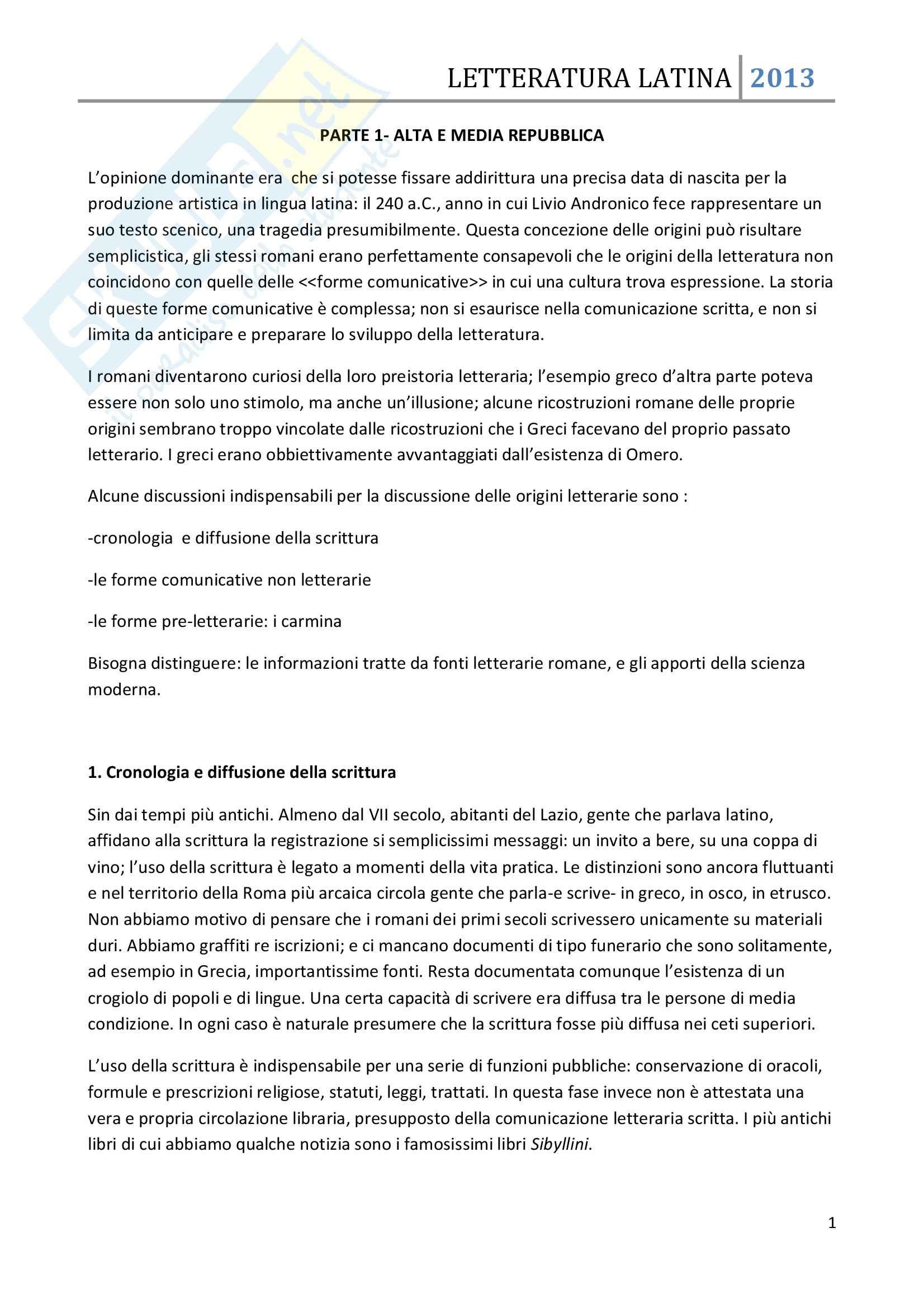 Riassunto esame Letteratura Latina, prof. Allegri, libro consigliato Letteratura latina, Conte