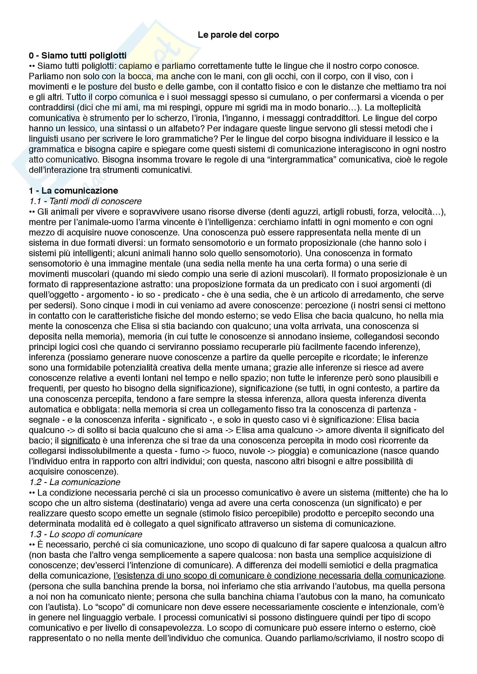 Riassunto esame Psicologia della comunicazione, prof.ssa Poggi, libro consigliato Le parole del corpo - Introduzione alla comunicazione multimodale, Poggi