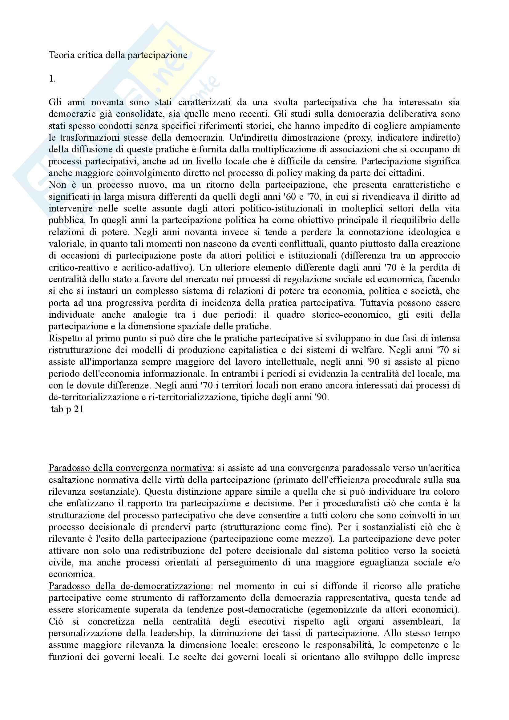 appunto G. Moini Governance e partecipazione nei sistemi territoriali