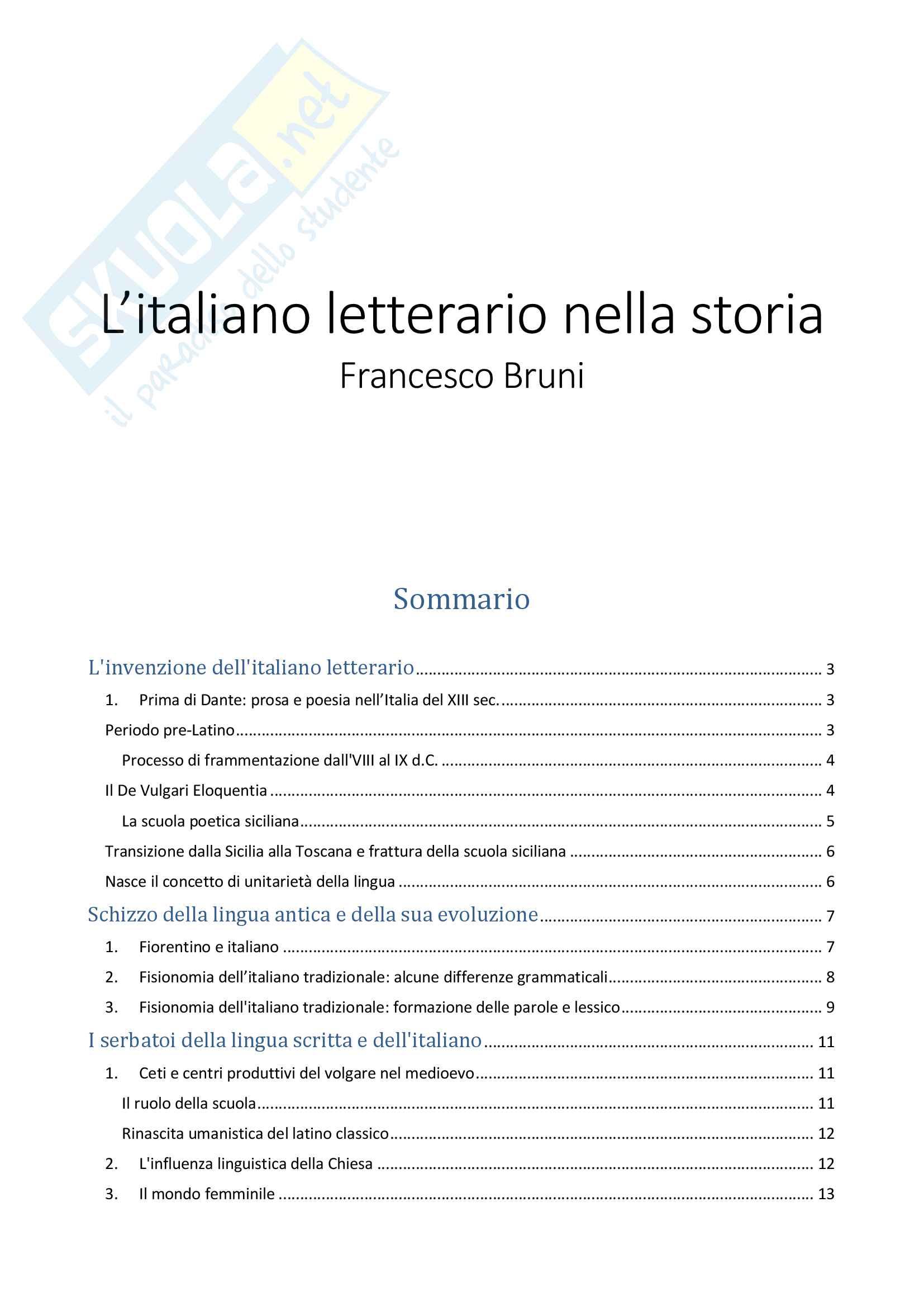 Riassunto esame Lingua e Letteratura Italiana, prof. Troiano, libro consigliato L'Italiano Letterario nella Storia, Bruni
