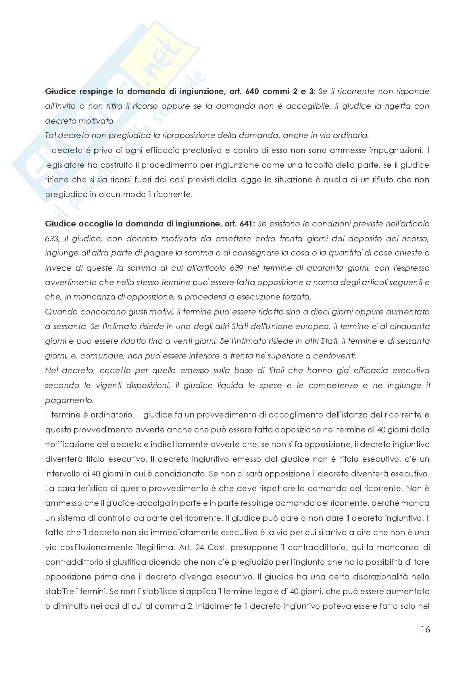 Procedura Civile, Procedimenti speciali Pag. 16