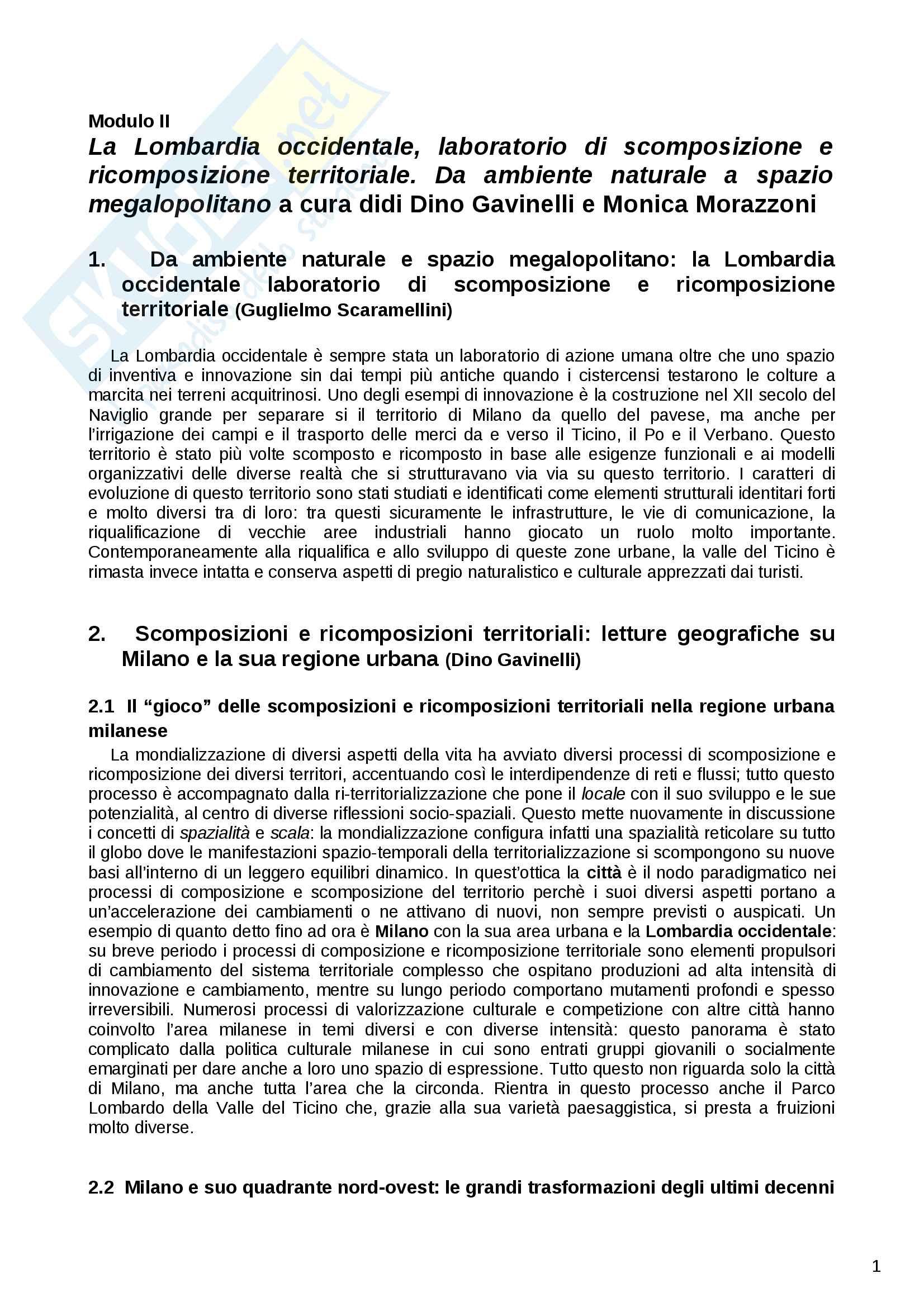 Riassunto esame Geografia Urbana e Regionale, prof. Dino Gavinelli, libro consigliato La Lombardia occidentale laboratorio di scomposizione e ricomposizione territoriale